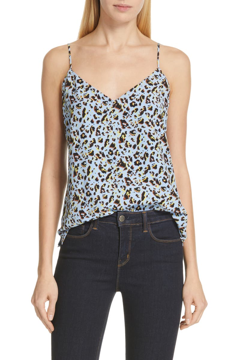 L'agence Tops JANE PRINT SILK CAMISOLE