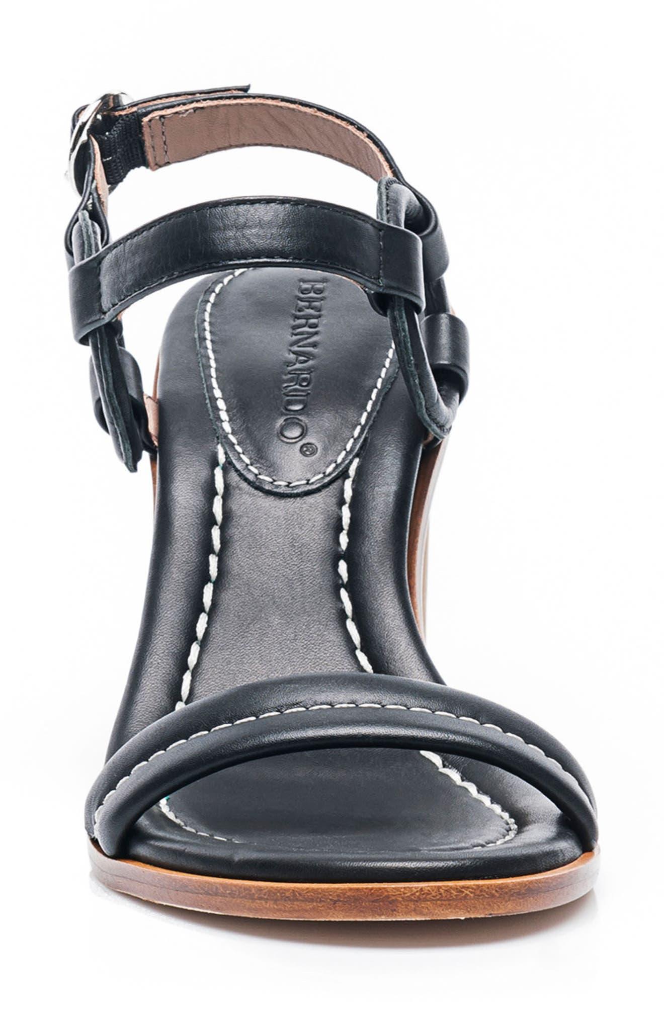 BERNARDO, Harlow Ankle Strap Sandal, Alternate thumbnail 4, color, BLACK LEATHER