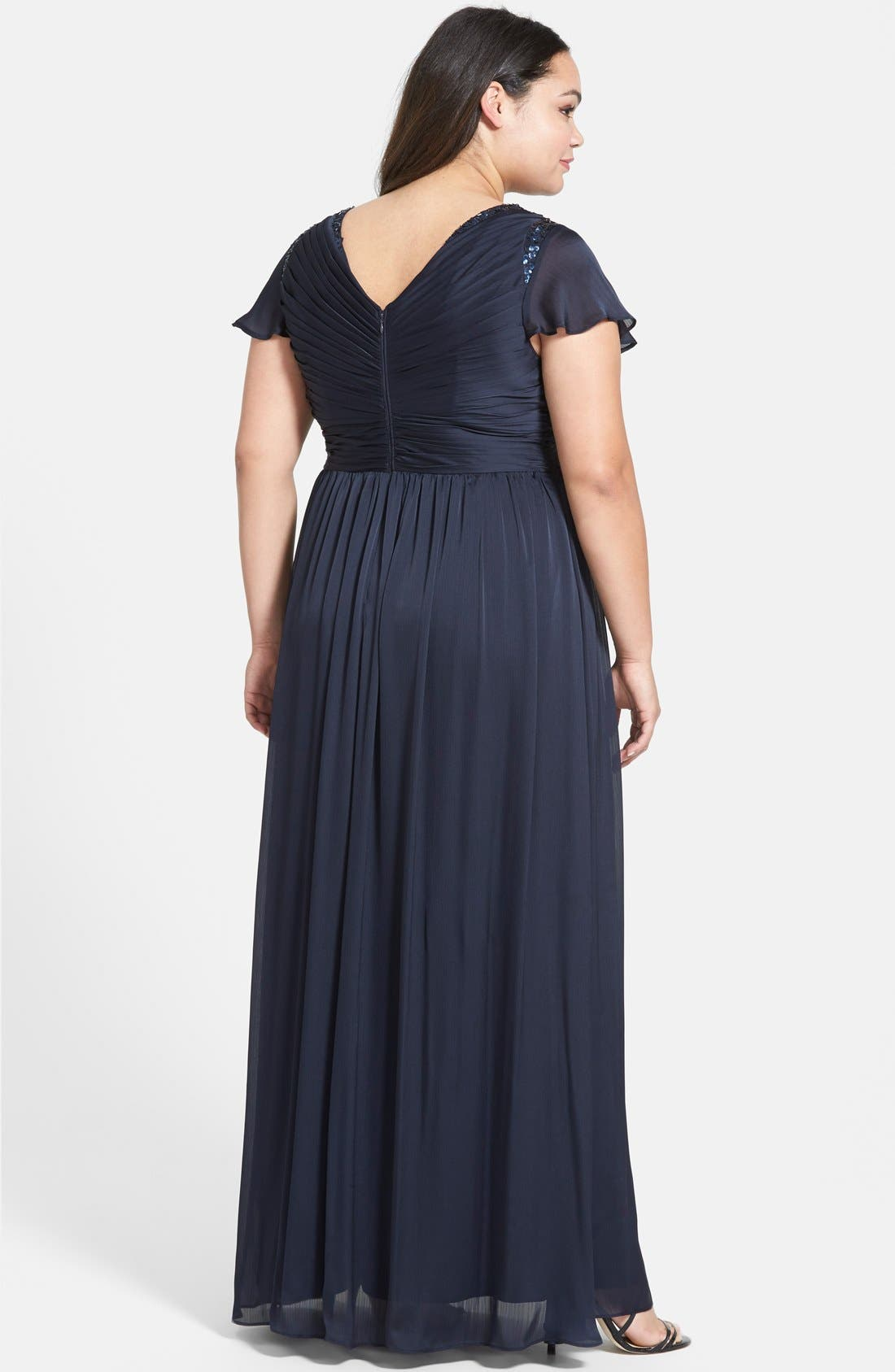 ADRIANNA PAPELL, Beaded Shoulder Pleat Chiffon Gown, Alternate thumbnail 2, color, 411