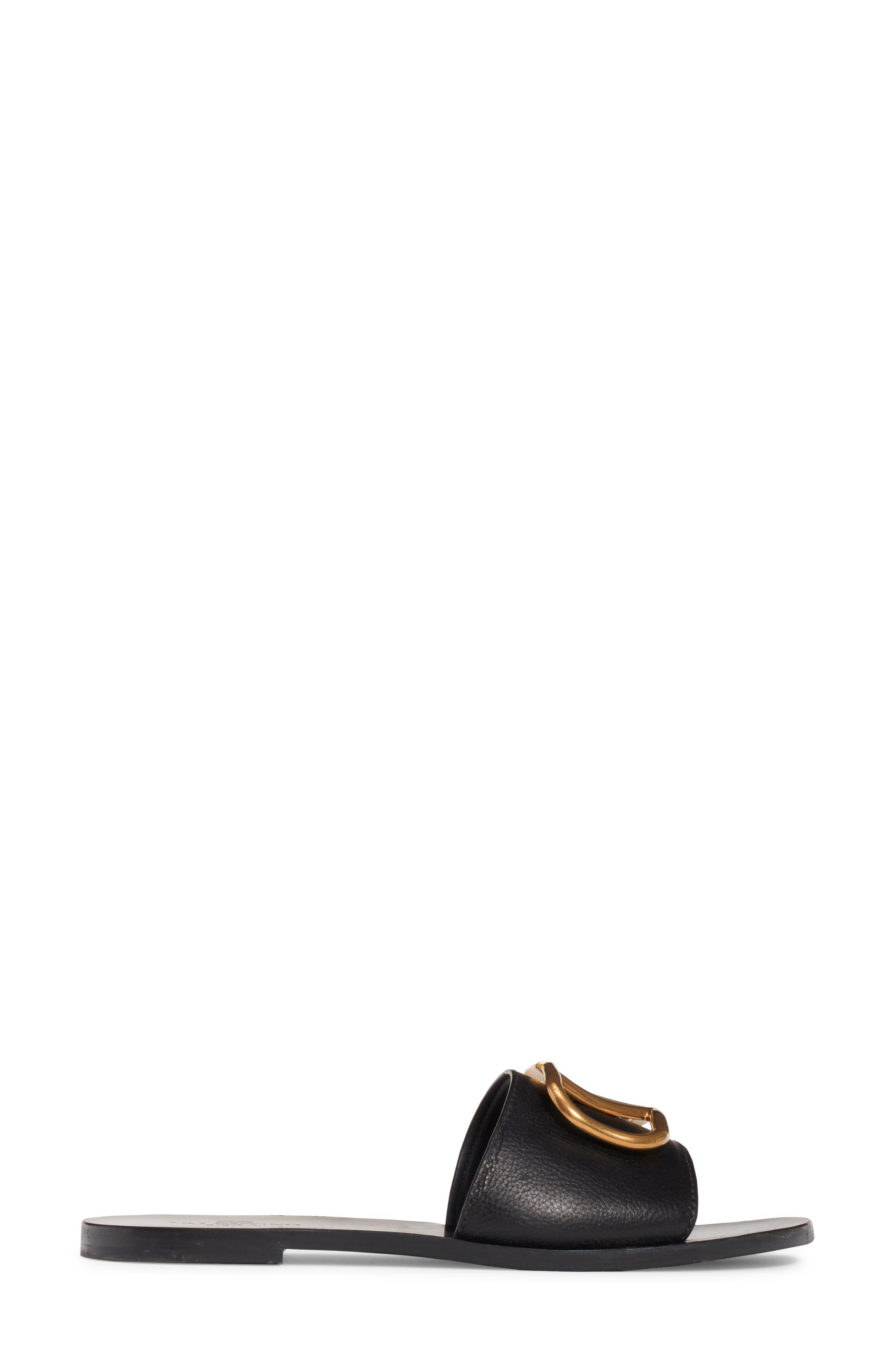 VALENTINO GARAVANI, Brooch Slide Sandal, Alternate thumbnail 3, color, BLACK