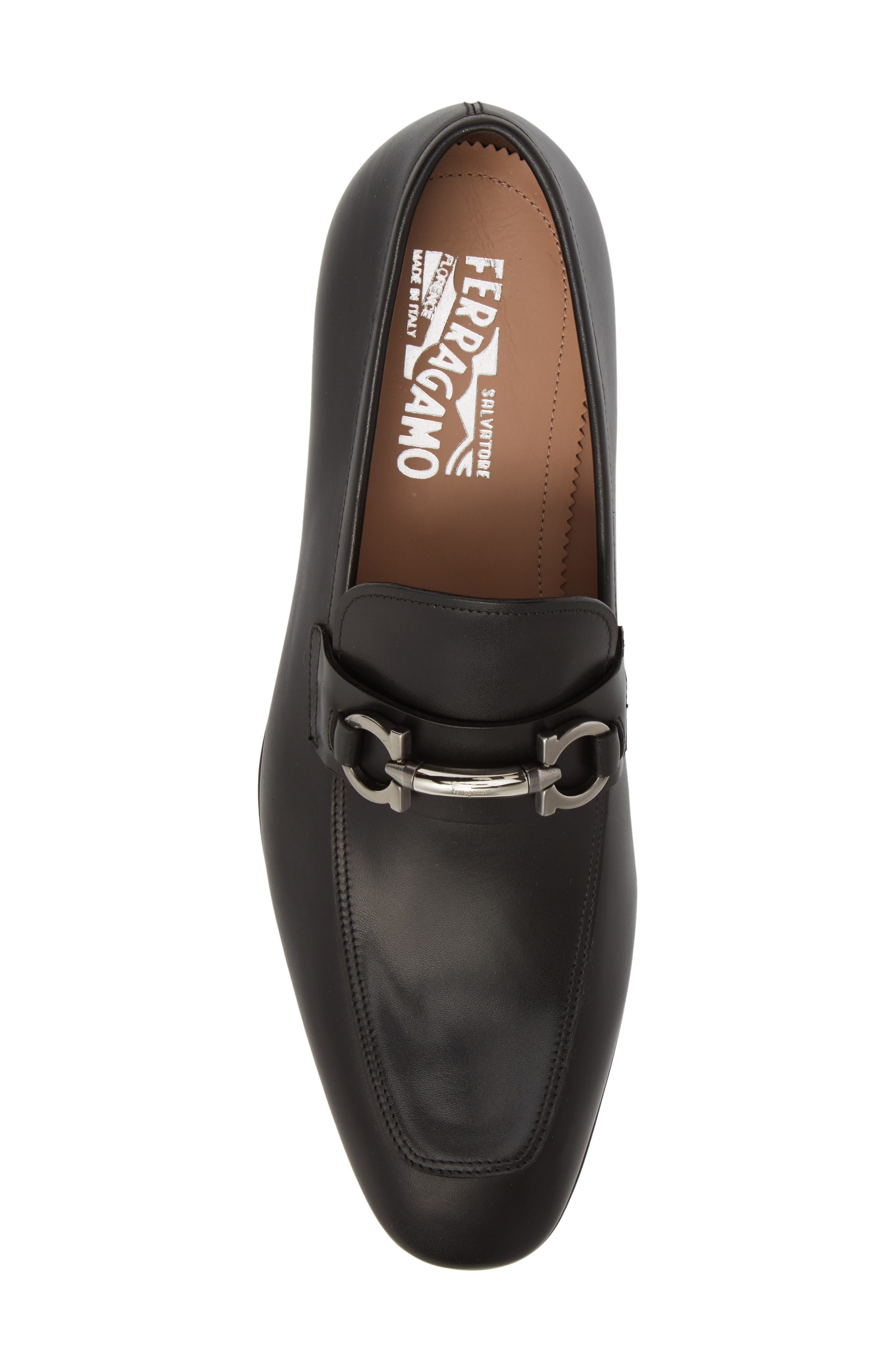 SALVATORE FERRAGAMO, Benford Rounded Bit Loafer, Alternate thumbnail 5, color, NERO LEATHER