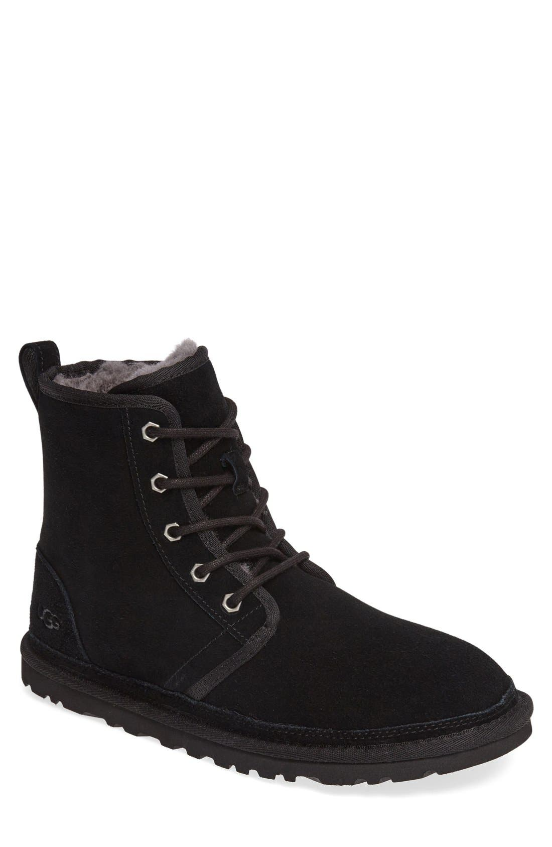UGG<SUP>®</SUP> Harkley Lace-Up Boot, Main, color, BLACK