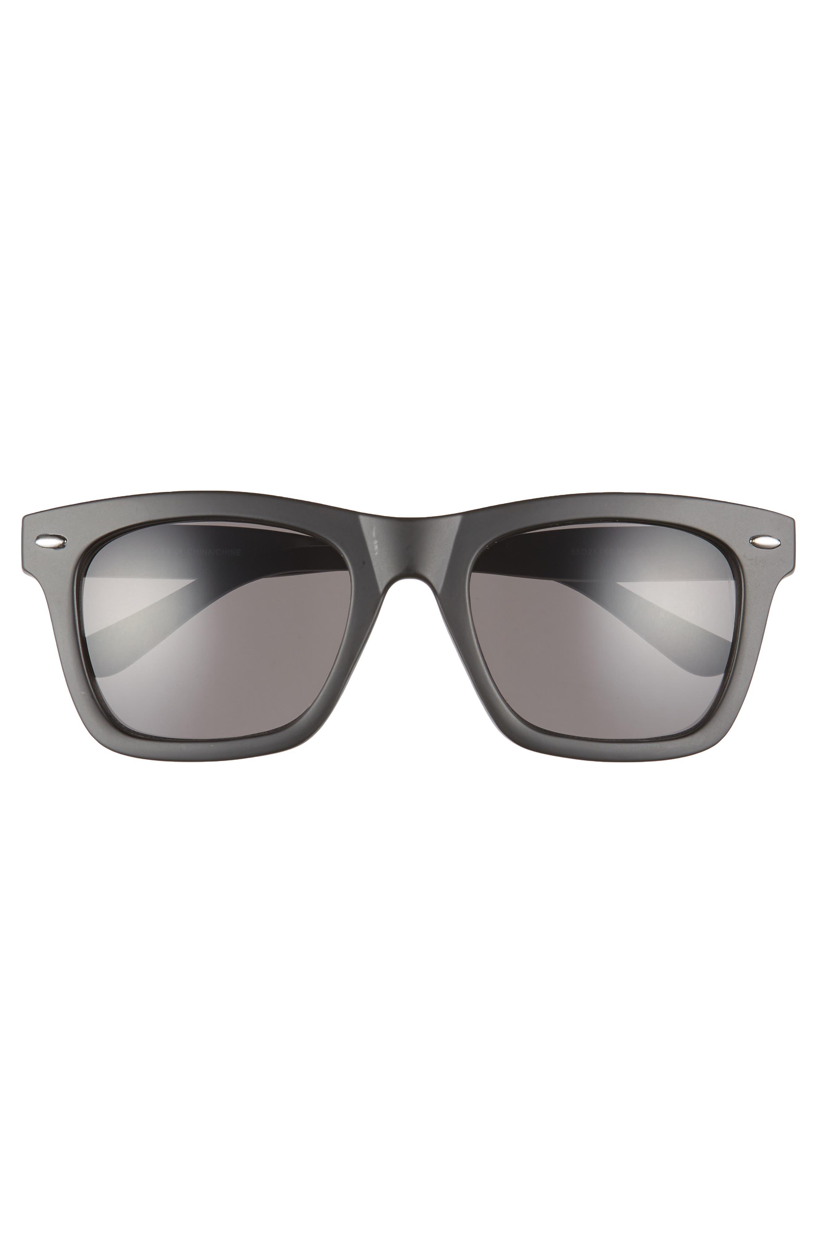 THE RAIL, Julian 55mm Square Sunglasses, Alternate thumbnail 2, color, BLACK/ CLEAR