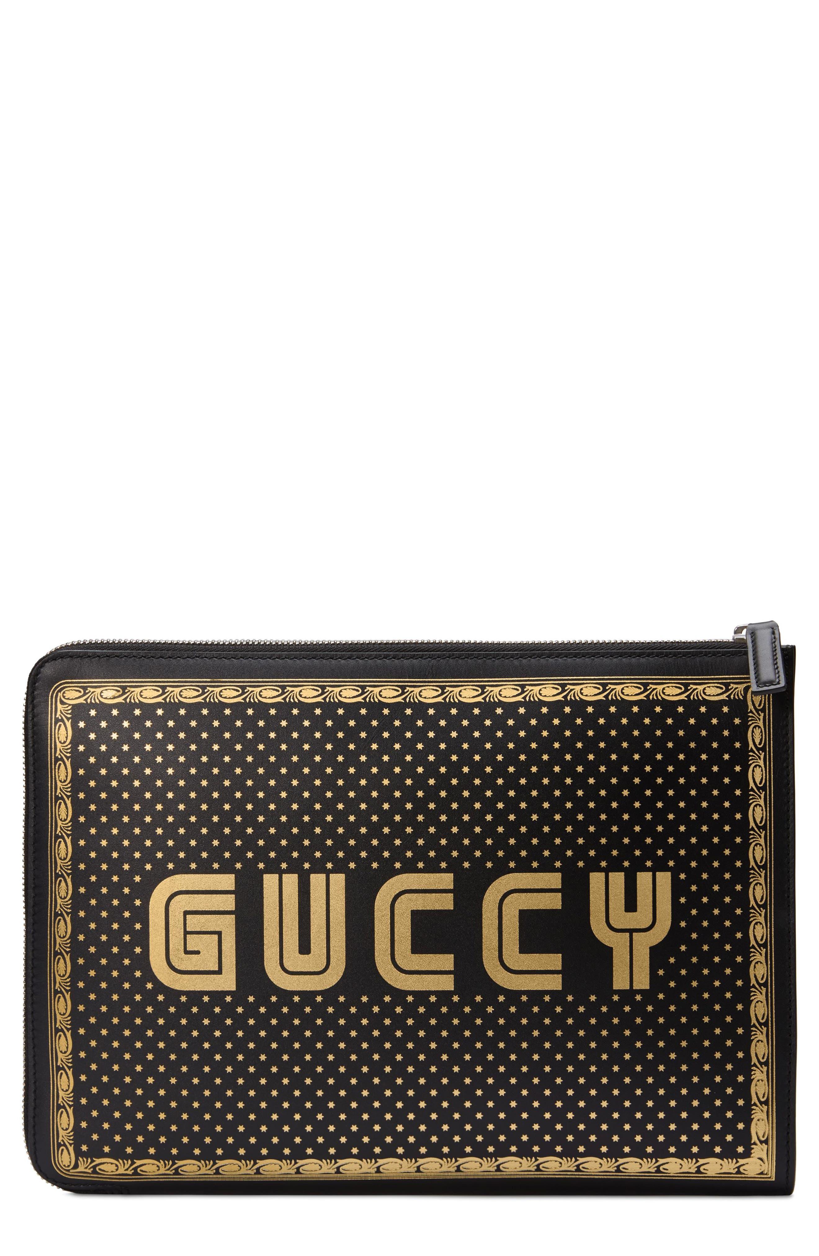GUCCI, Guccy Logo Moon & Stars Leather Clutch, Main thumbnail 1, color, NERO ORO/ NERO