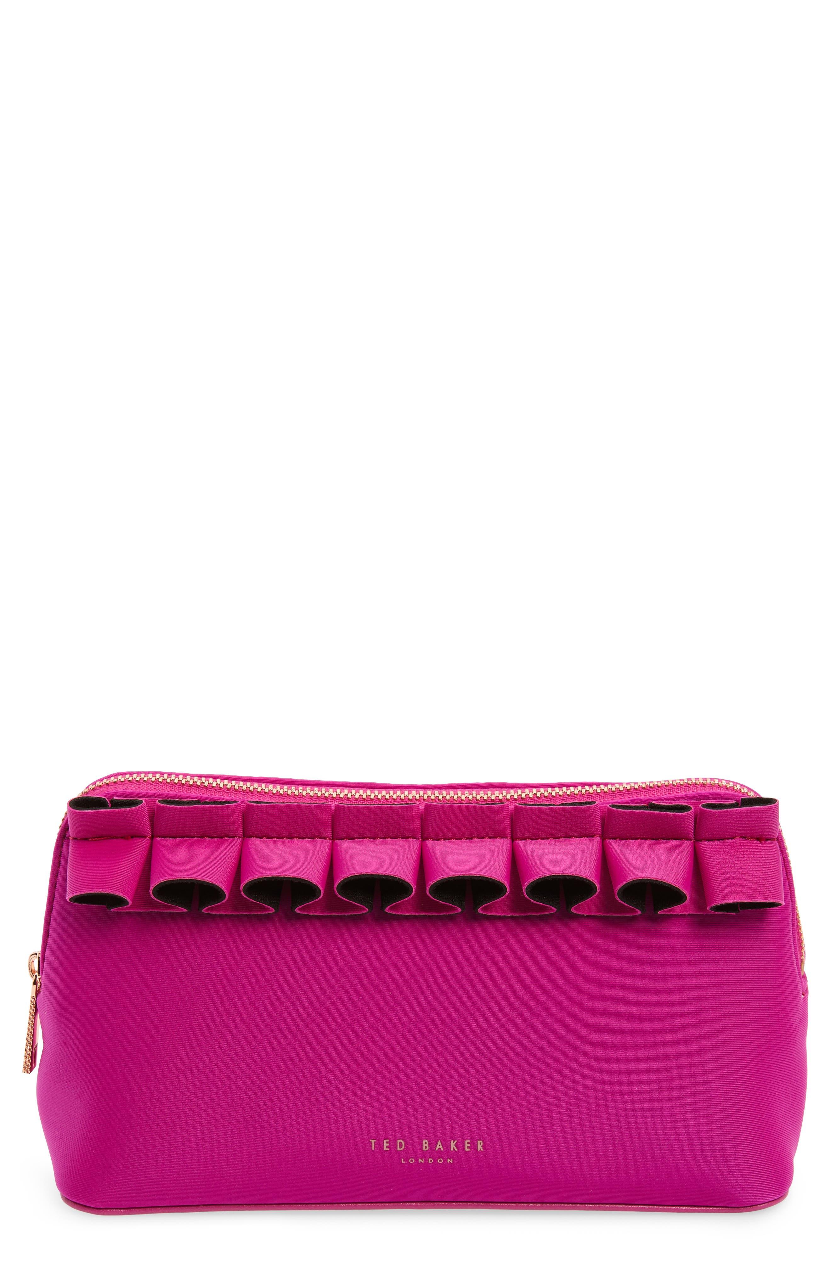 TED BAKER LONDON Adalyn Ruffle Cosmetics Case, Main, color, FUCHSIA