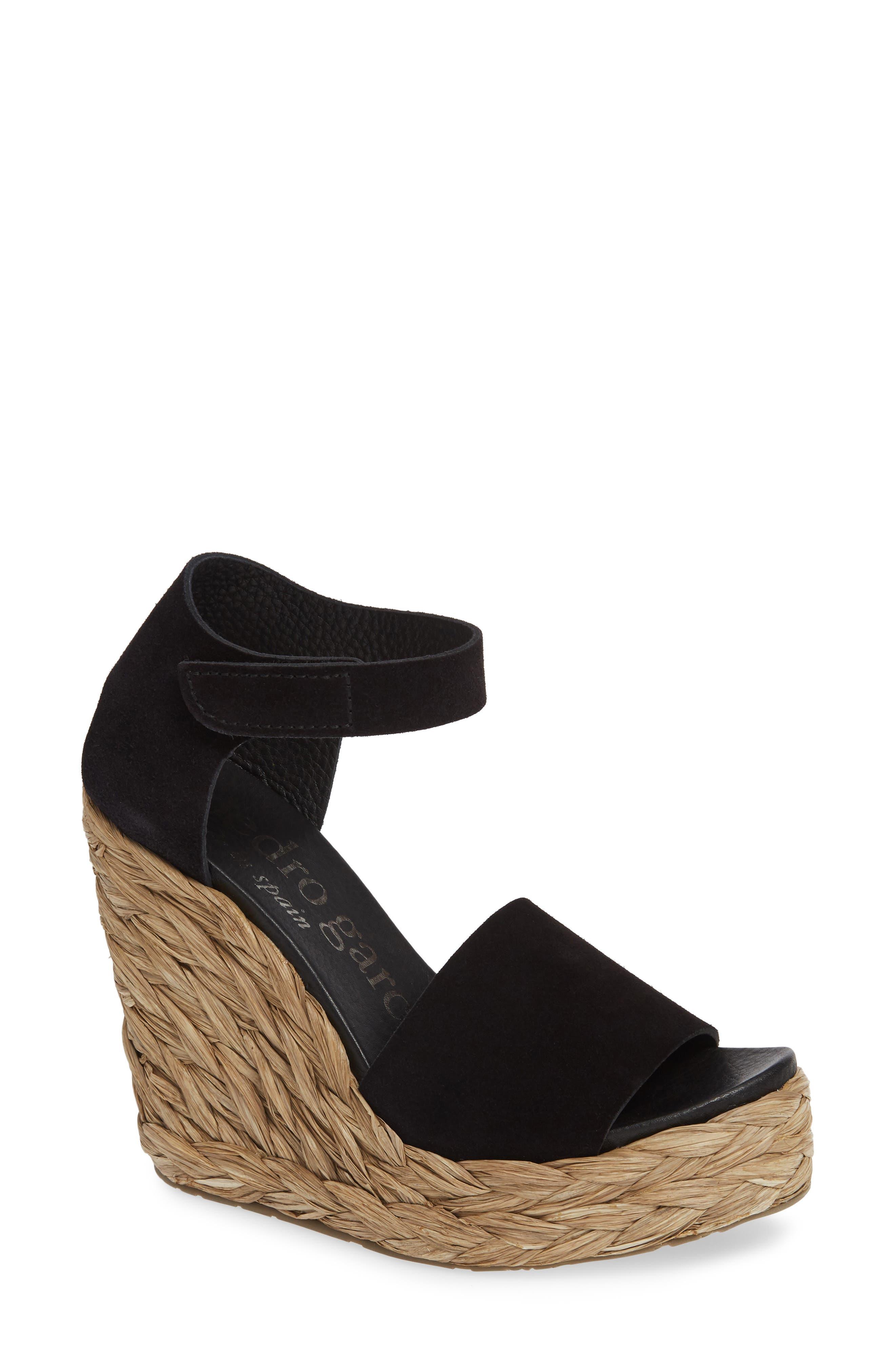 PEDRO GARCIA Tage Raffia Wedge Sandal, Main, color, BLACK CASTORO