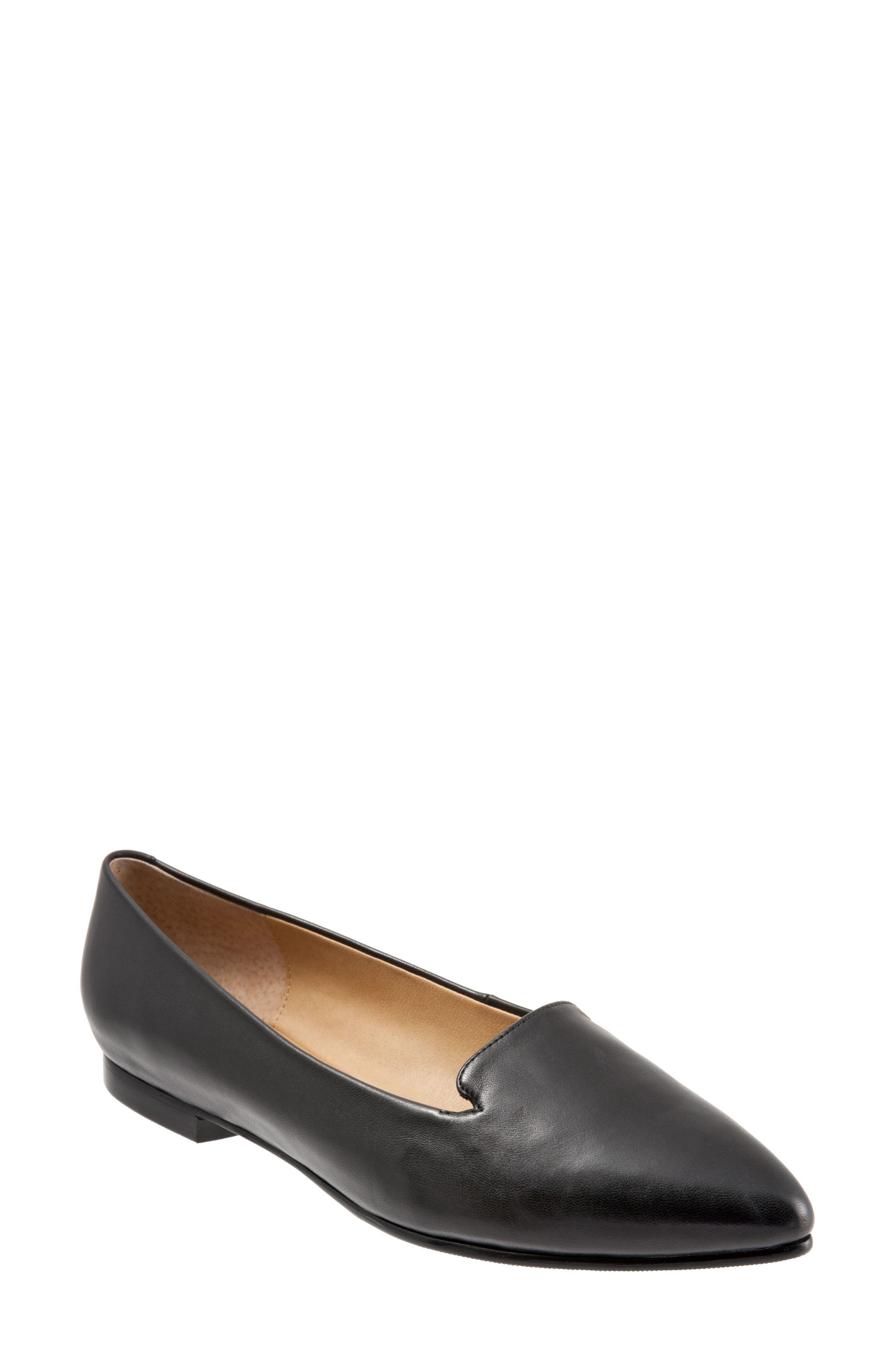 TROTTERS, Harlowe Pointy Toe Loafer, Main thumbnail 1, color, BLACK LEATHER