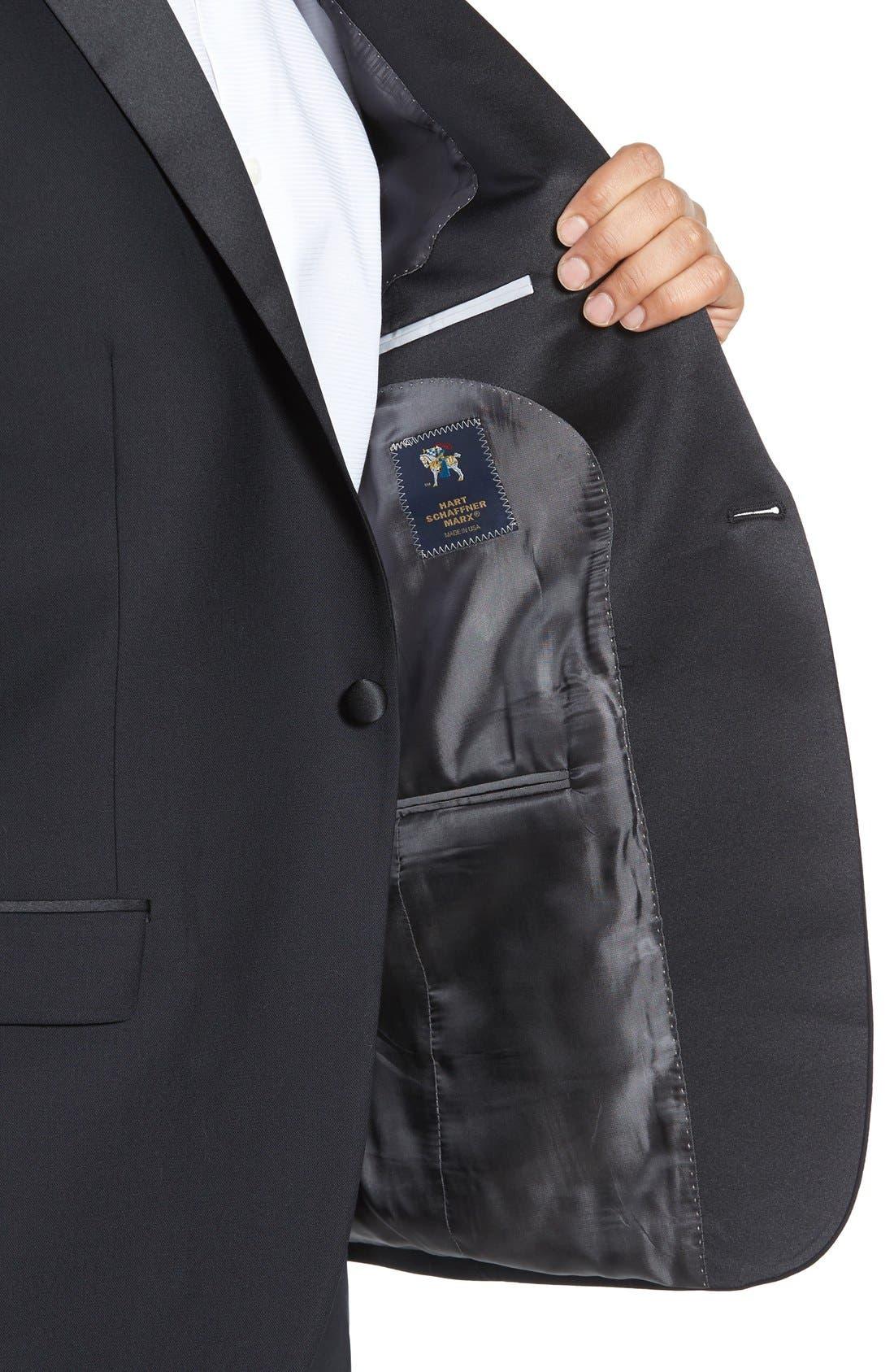 HART SCHAFFNER MARX, New York Classic Fit Black Wool Tuxedo, Alternate thumbnail 6, color, BLACK