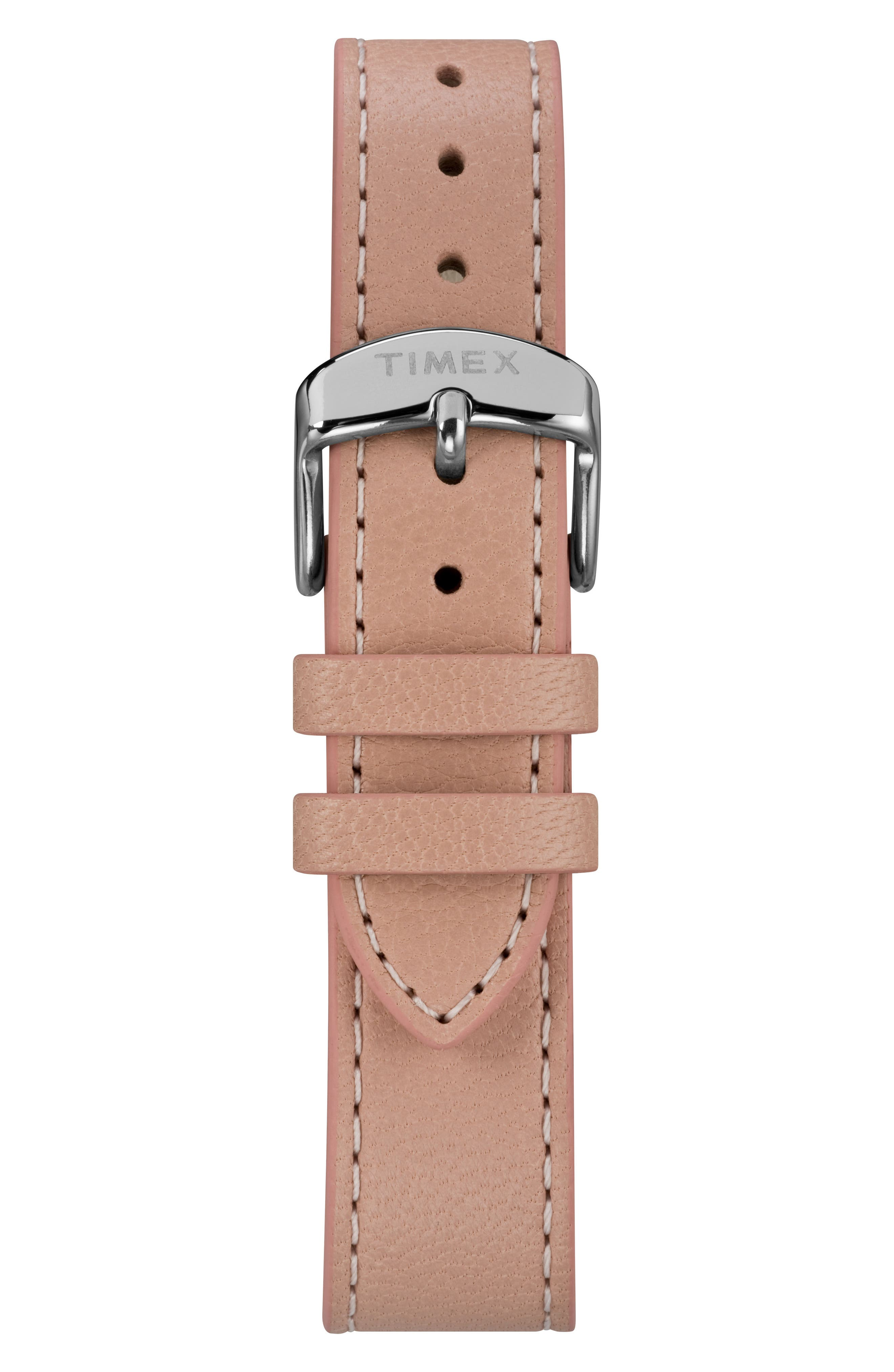 TIMEX<SUP>®</SUP>, Timex Fairfield Leather Strap Watch, 37mm, Alternate thumbnail 2, color, PINK/ WHITE/ SILVER