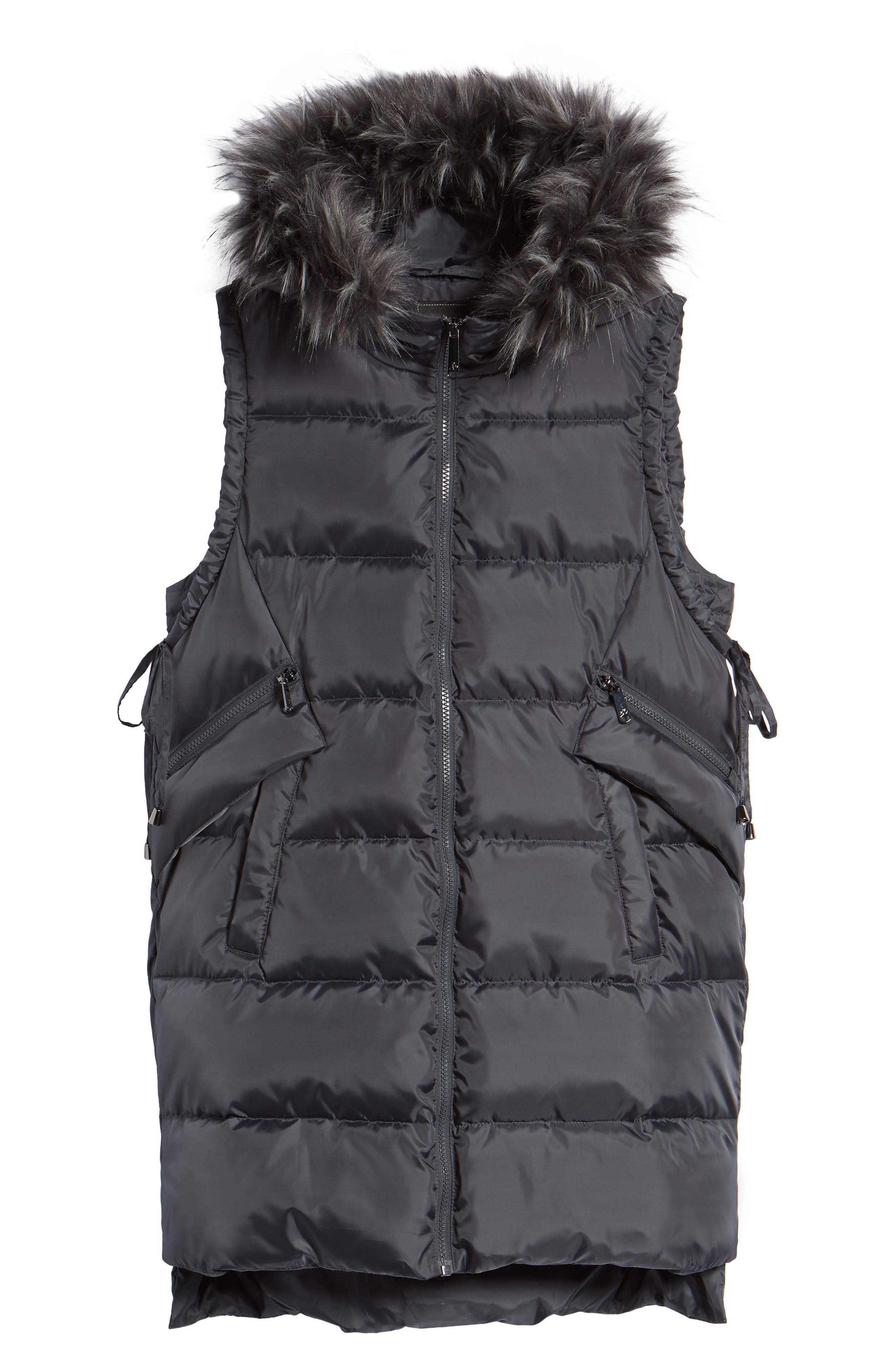 SAM EDELMAN, Faux Fur Trim Hooded Side-Tie Vest, Alternate thumbnail 6, color, 036