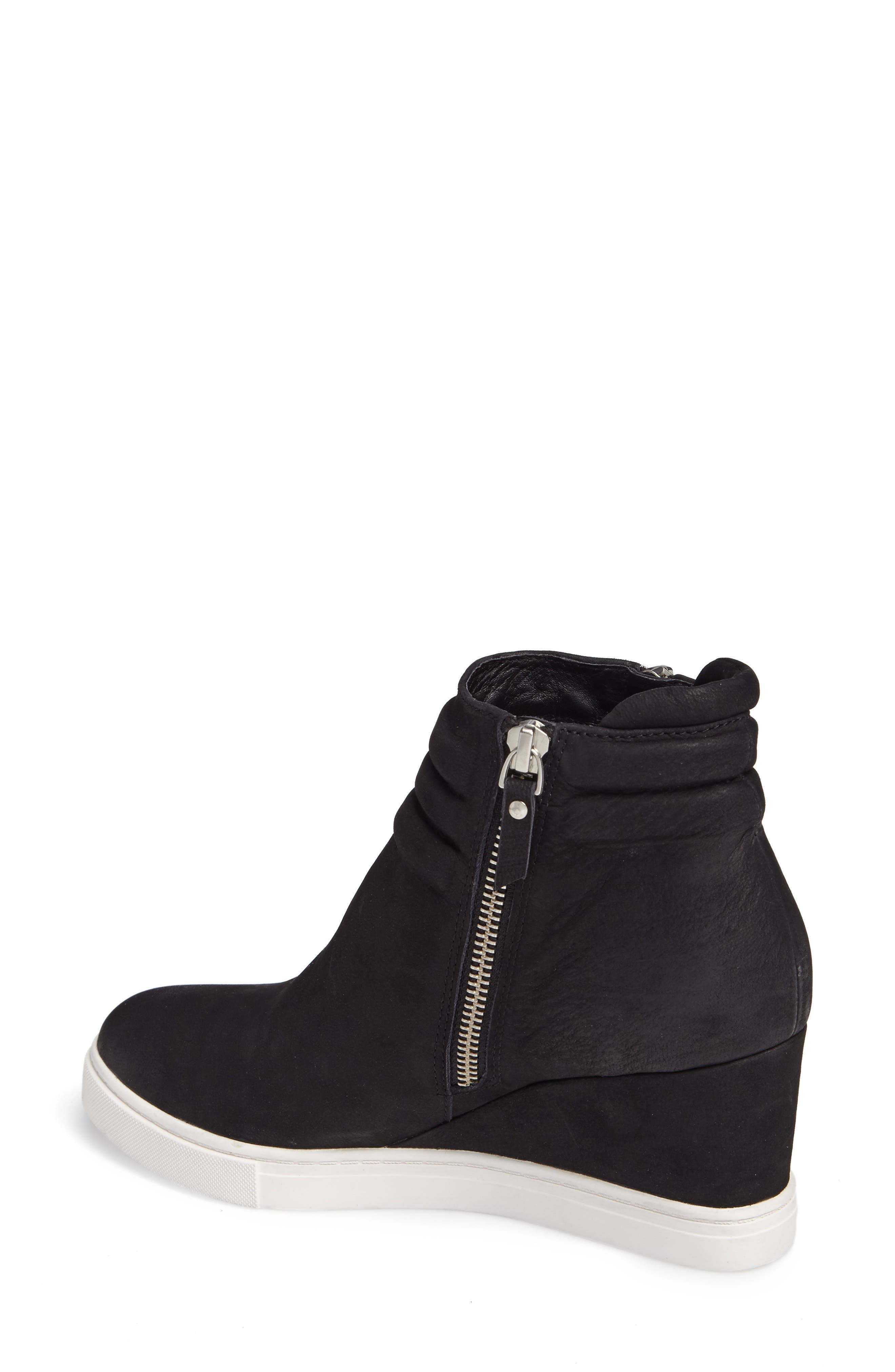 LINEA PAOLO, Frieda Wedge Bootie, Alternate thumbnail 2, color, BLACK LEATHER