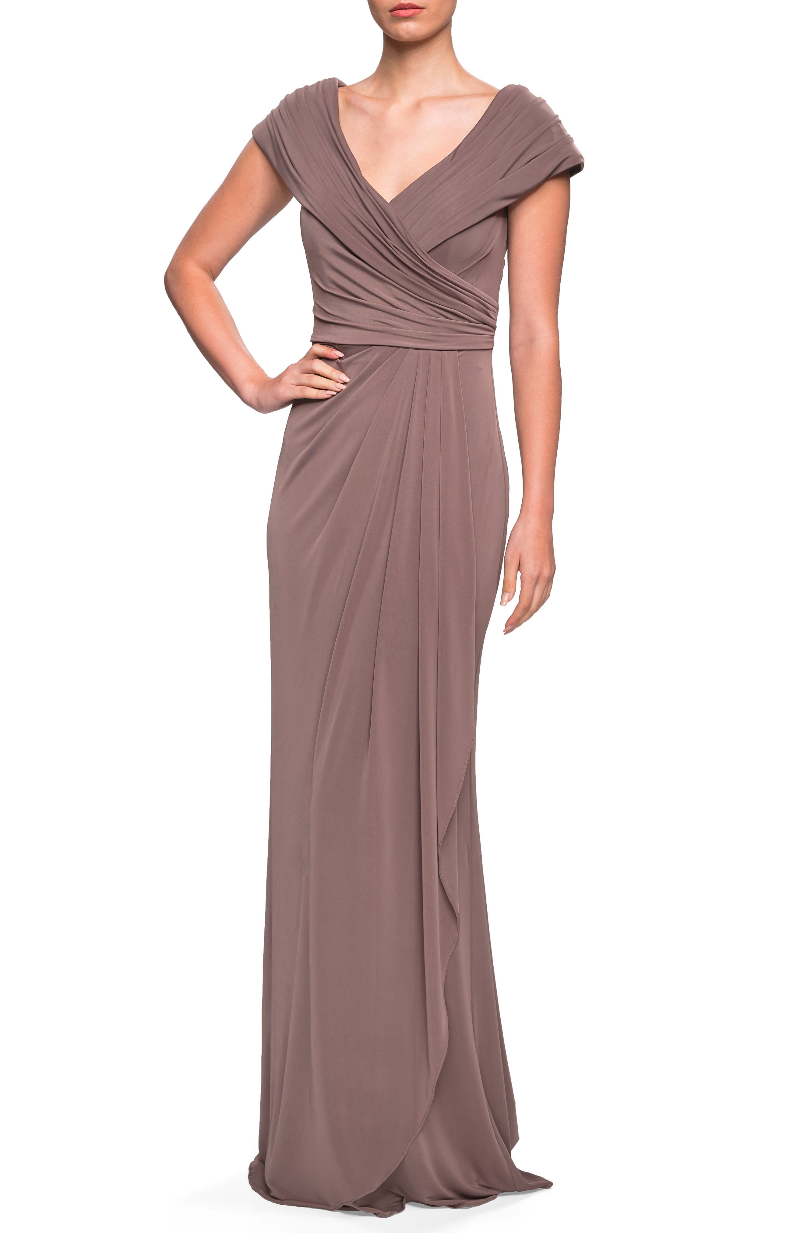 LA FEMME, Ruched Jersey Gown, Main thumbnail 1, color, COCOA