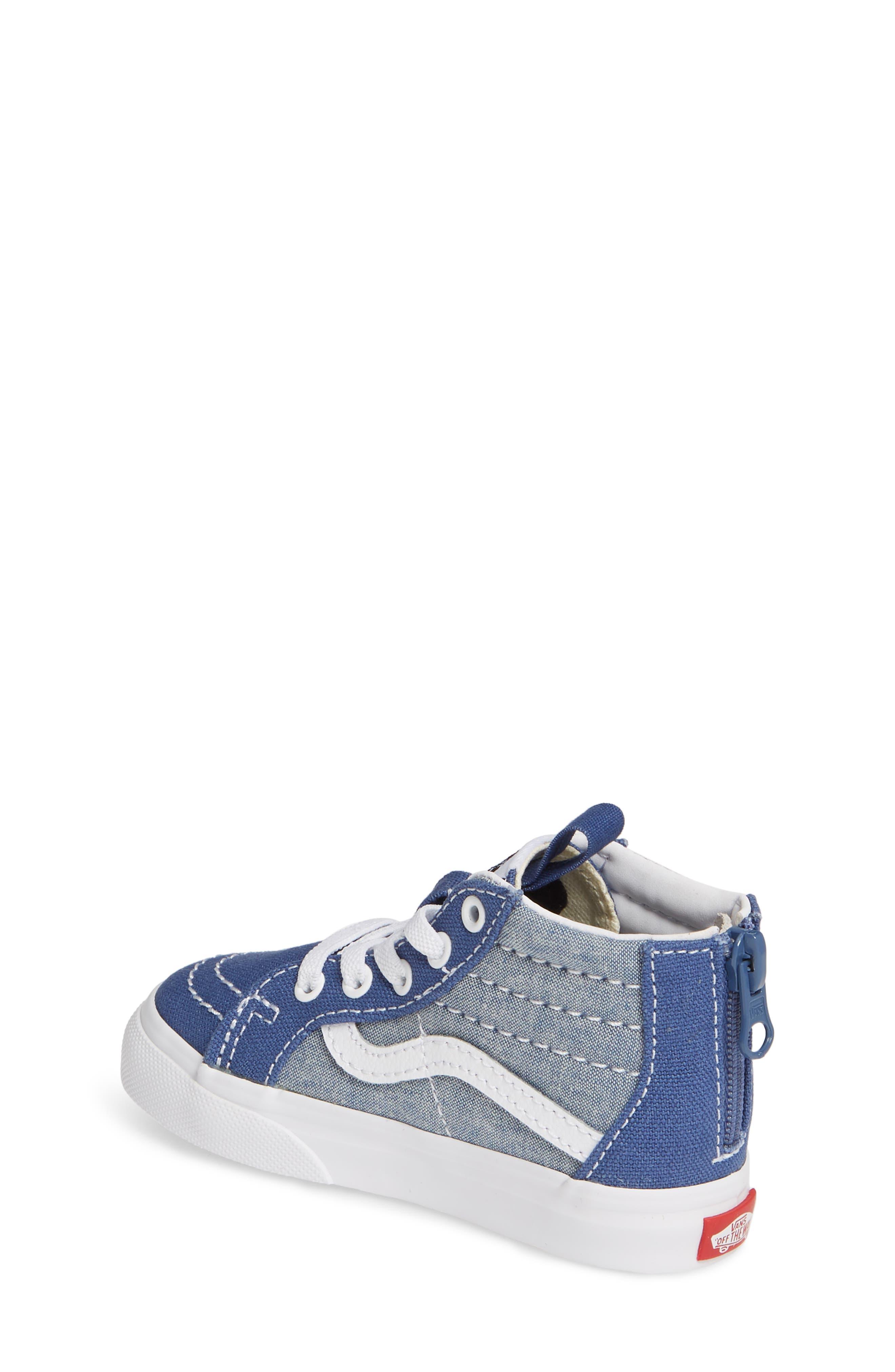 VANS, 'Sk8-Hi' Sneaker, Alternate thumbnail 2, color, CHAMBRAY CANVAS NAVY/ WHITE