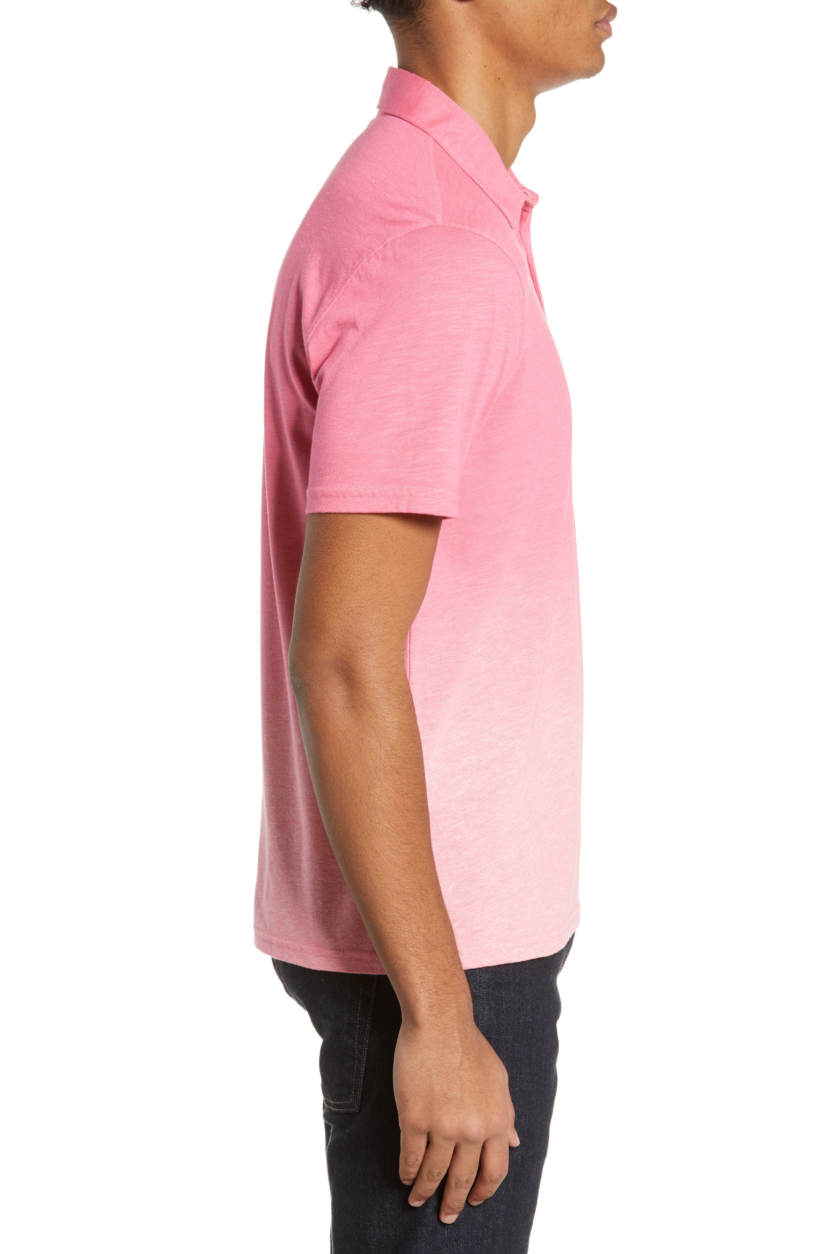 ZACHARY PRELL, Shelter Island Dip Dye Polo, Alternate thumbnail 3, color, BRIGHT PINK