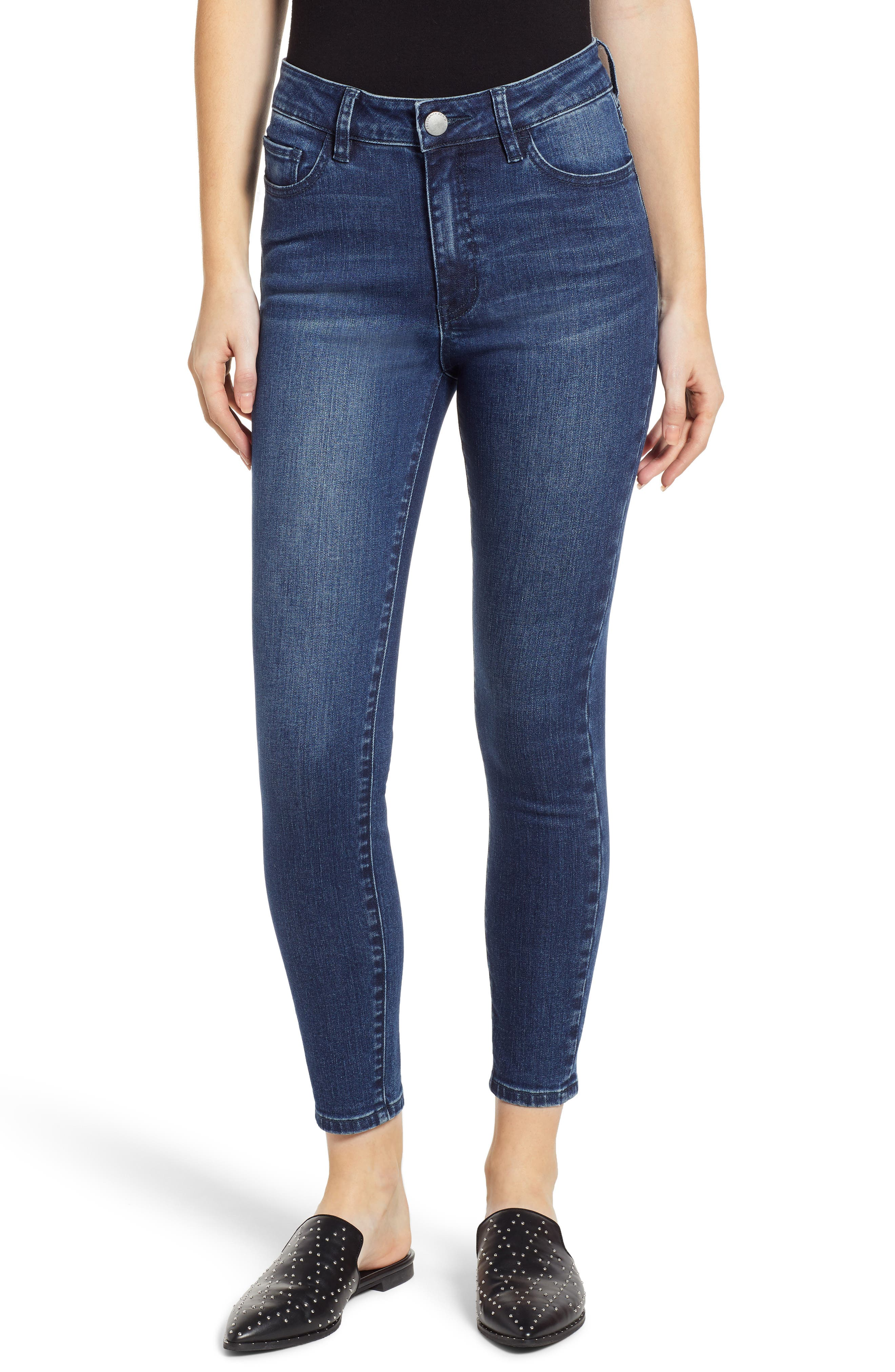 PROSPERITY DENIM High Waist Ankle Skinny Jeans, Main, color, DARK WASH