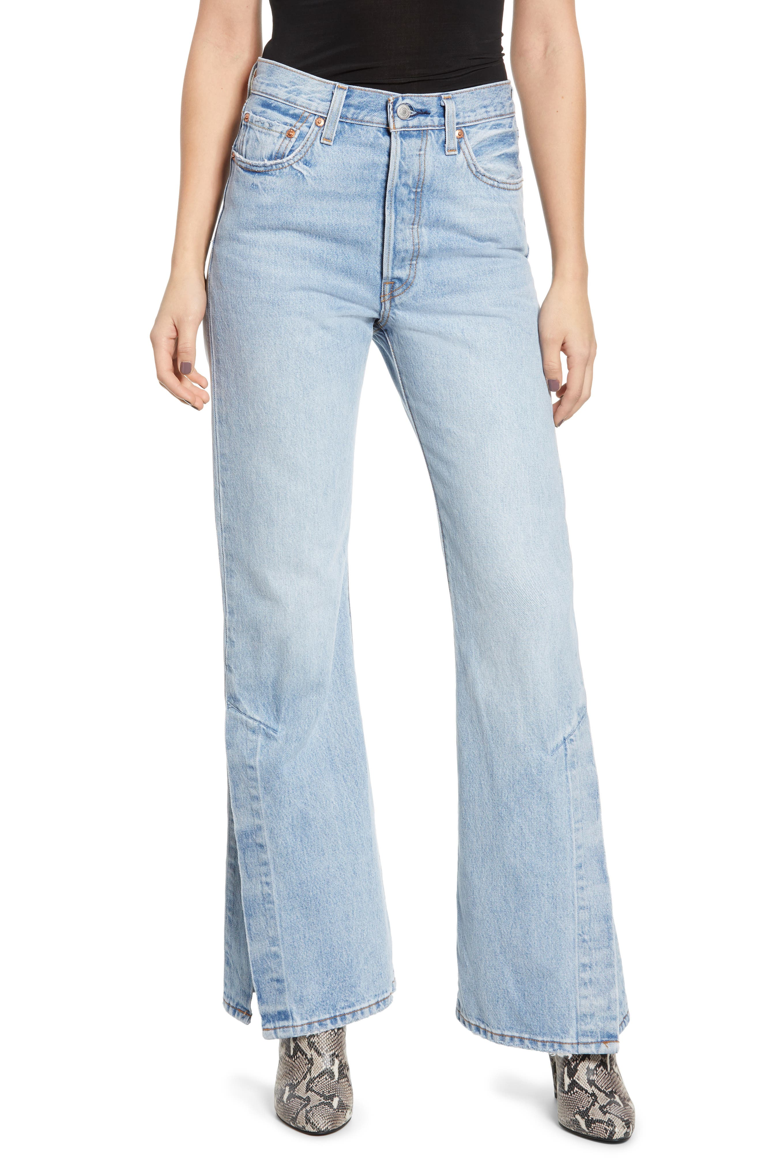 LEVI'S<SUP>®</SUP>, Ribcage Super High Waist Split Flare Jeans, Main thumbnail 1, color, DAZED AND CONFUSED