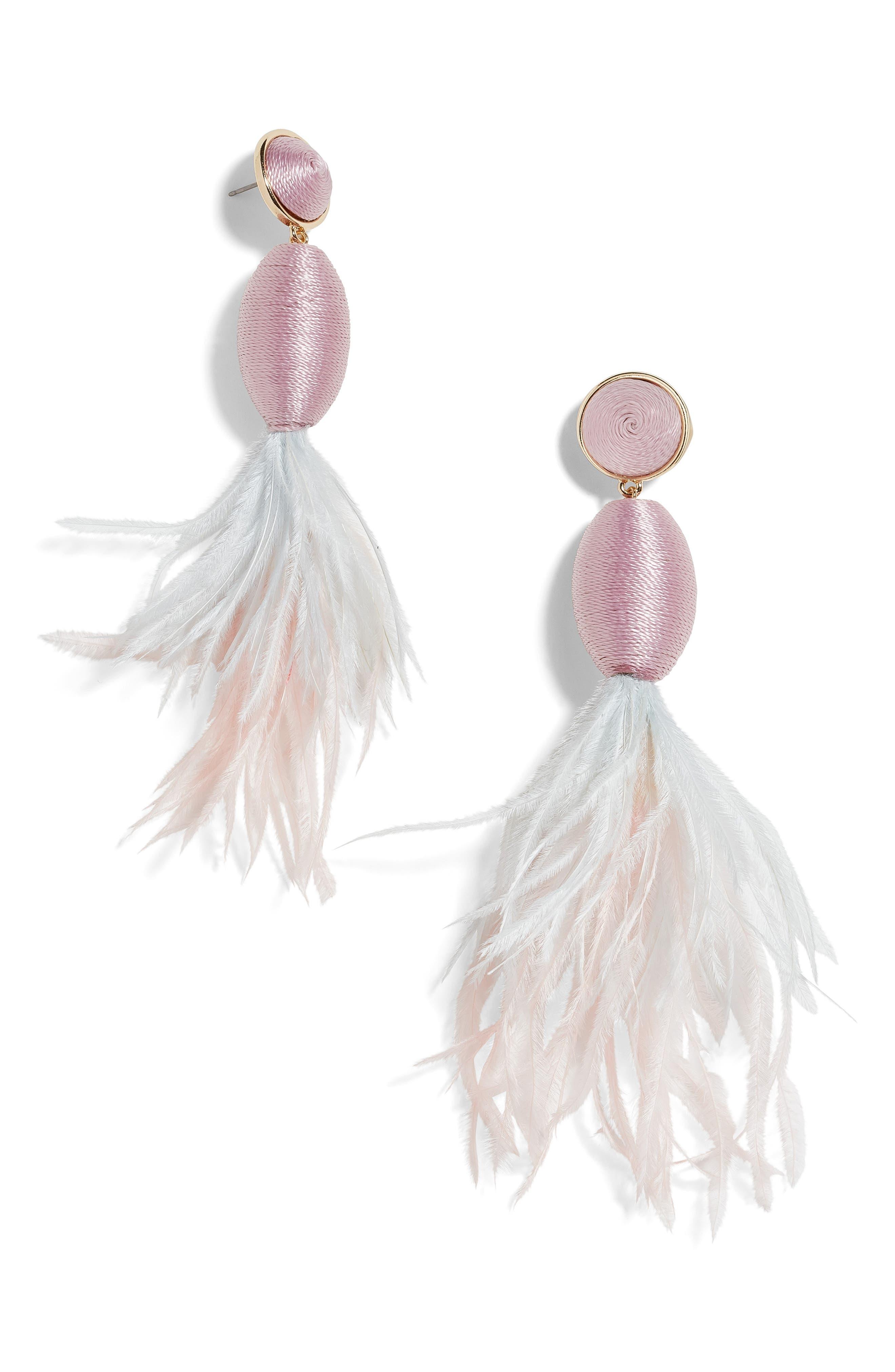 BAUBLEBAR, Fianna Feather Drop Earrings, Main thumbnail 1, color, LAVENDER