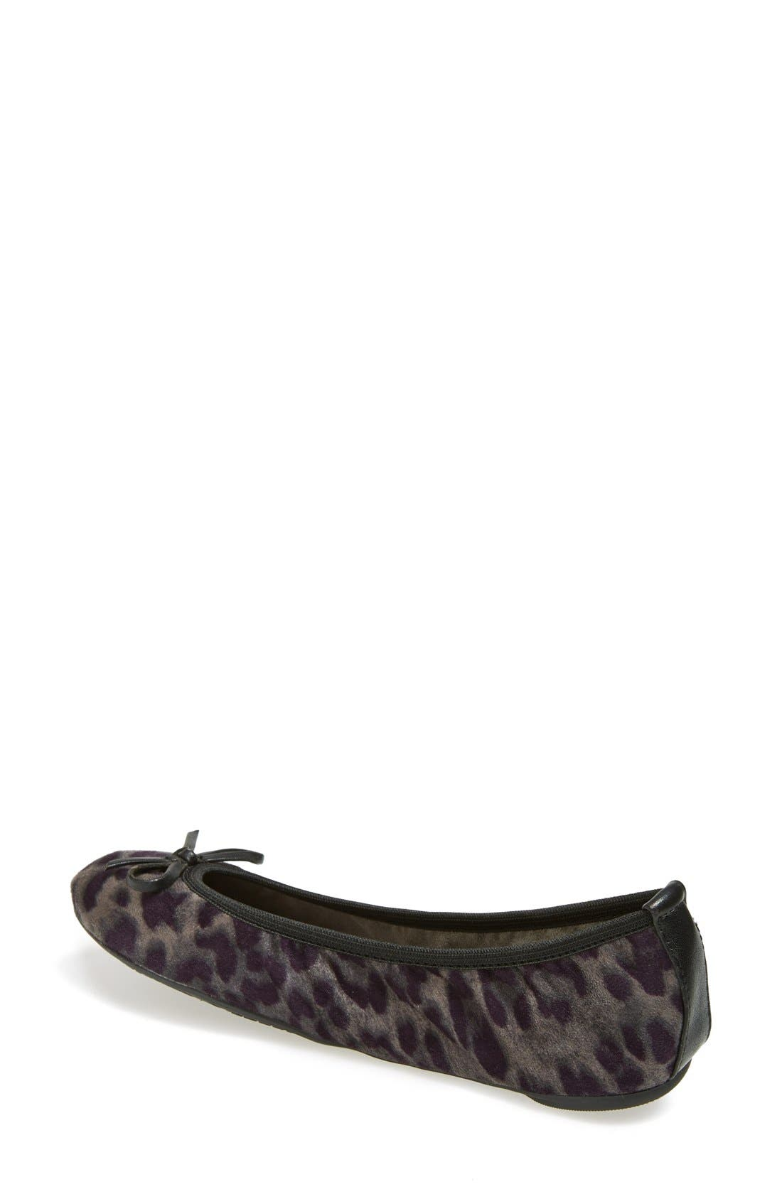 BUTTERFLY TWISTS, 'Cleo Leopard' Foldable Ballerina Flat, Alternate thumbnail 3, color, 020