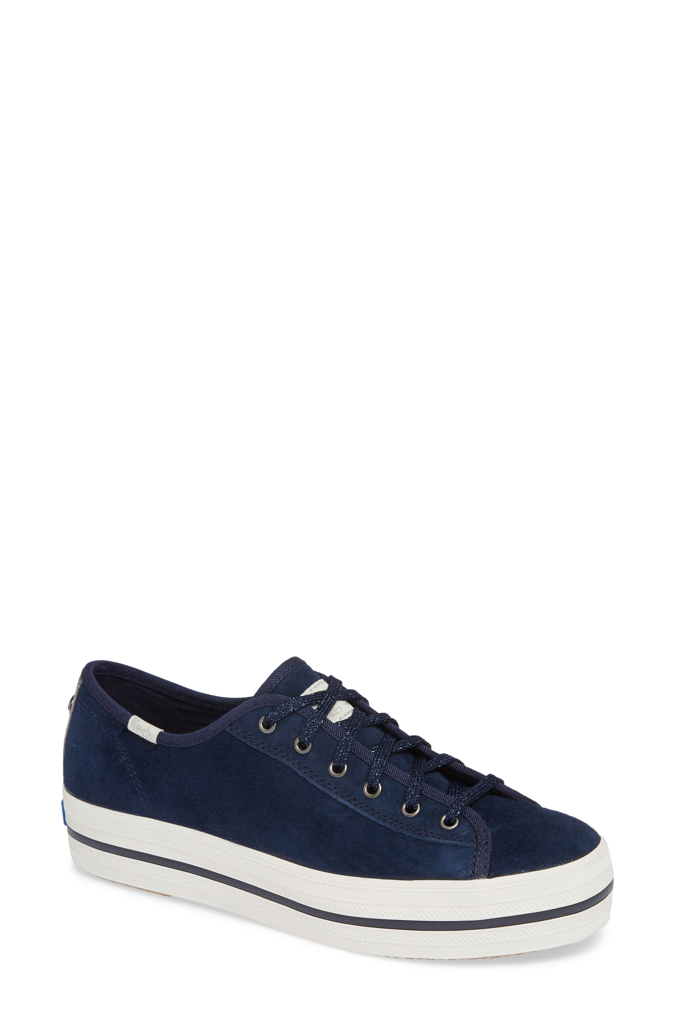 KEDS<SUP>®</SUP> FOR KATE SPADE NEW YORK, Keds<sup>®</sup> x kate spade new york triple kicks platform sneaker, Main thumbnail 1, color, NAVY SUEDE