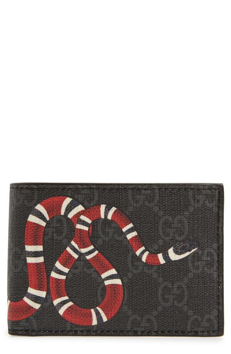 eddb15f25c1 Gucci Snake Print Supreme Bifold Wallet
