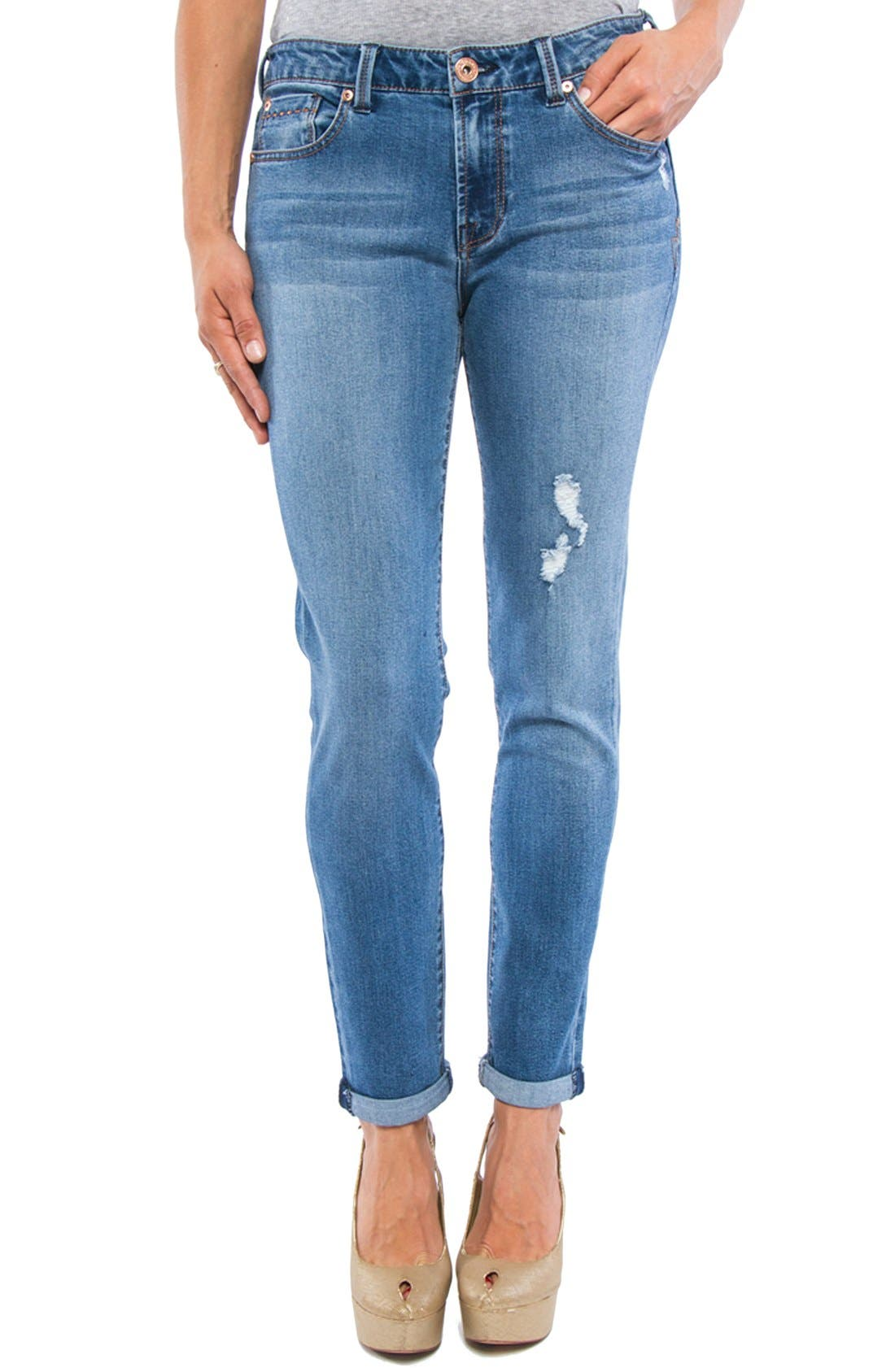 LIVERPOOL, Jeans Company 'Tory' Distressed Girlfriend Jeans, Main thumbnail 1, color, 401