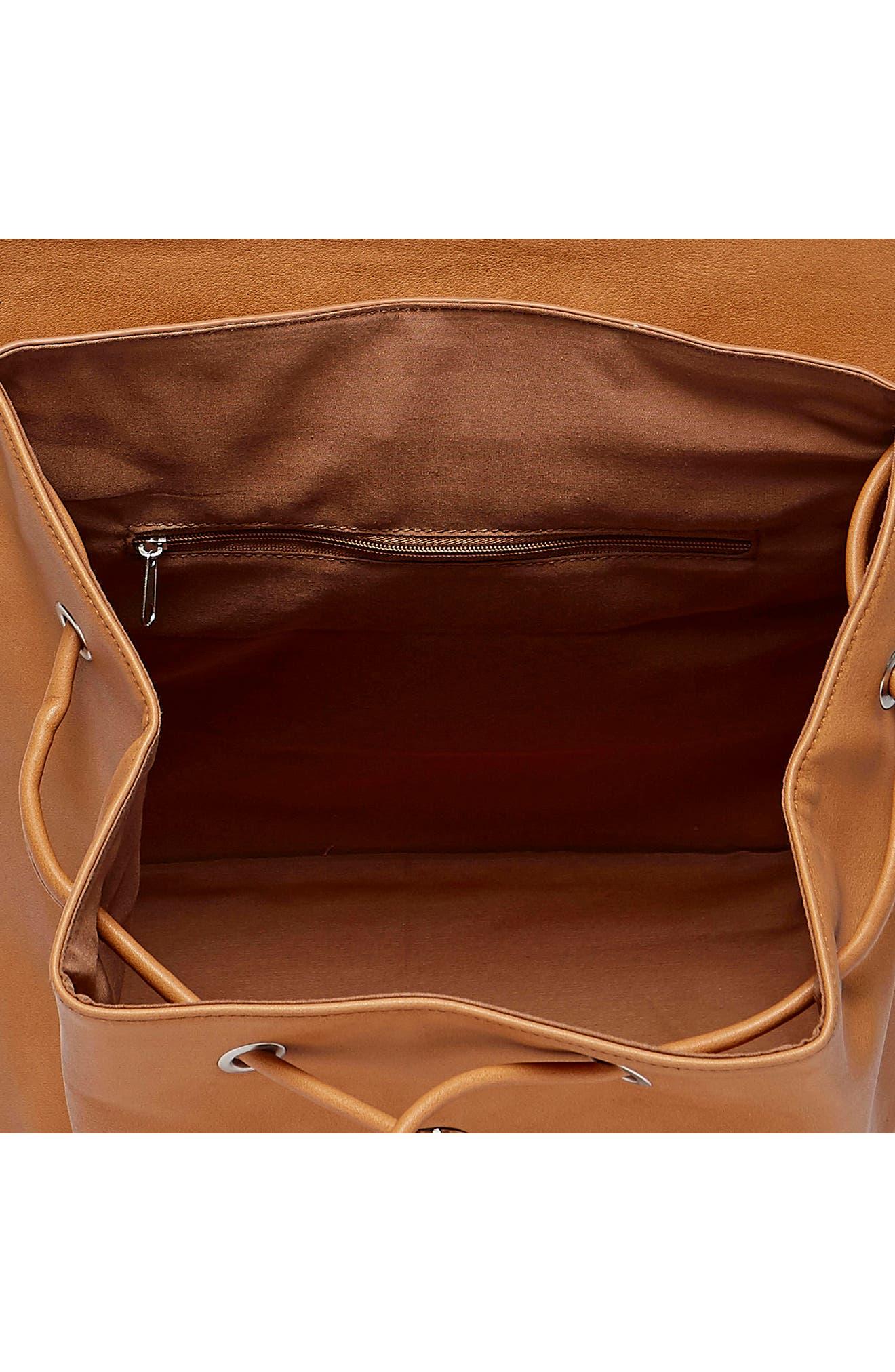 URBAN ORIGINALS, Midnight Vegan Leather Flap Backpack, Alternate thumbnail 3, color, 200