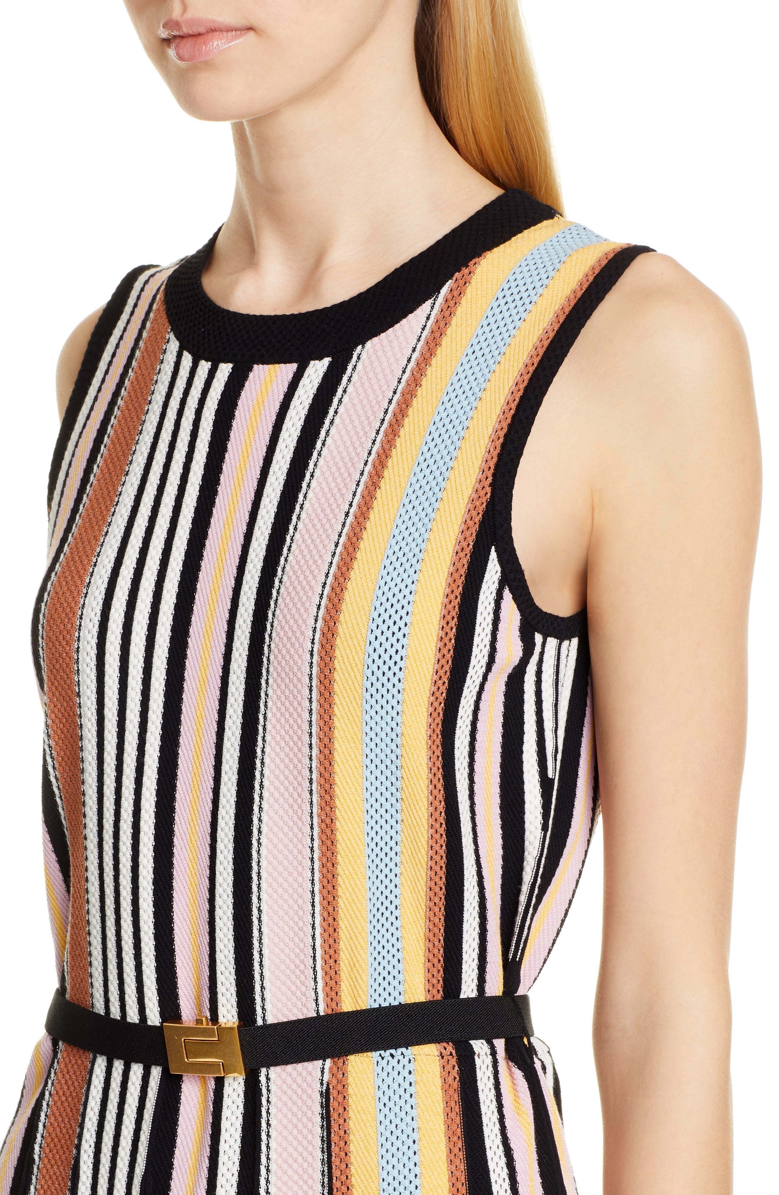 TORY BURCH, Stripe Sweater Dress, Alternate thumbnail 4, color, WEBBING STRIPE