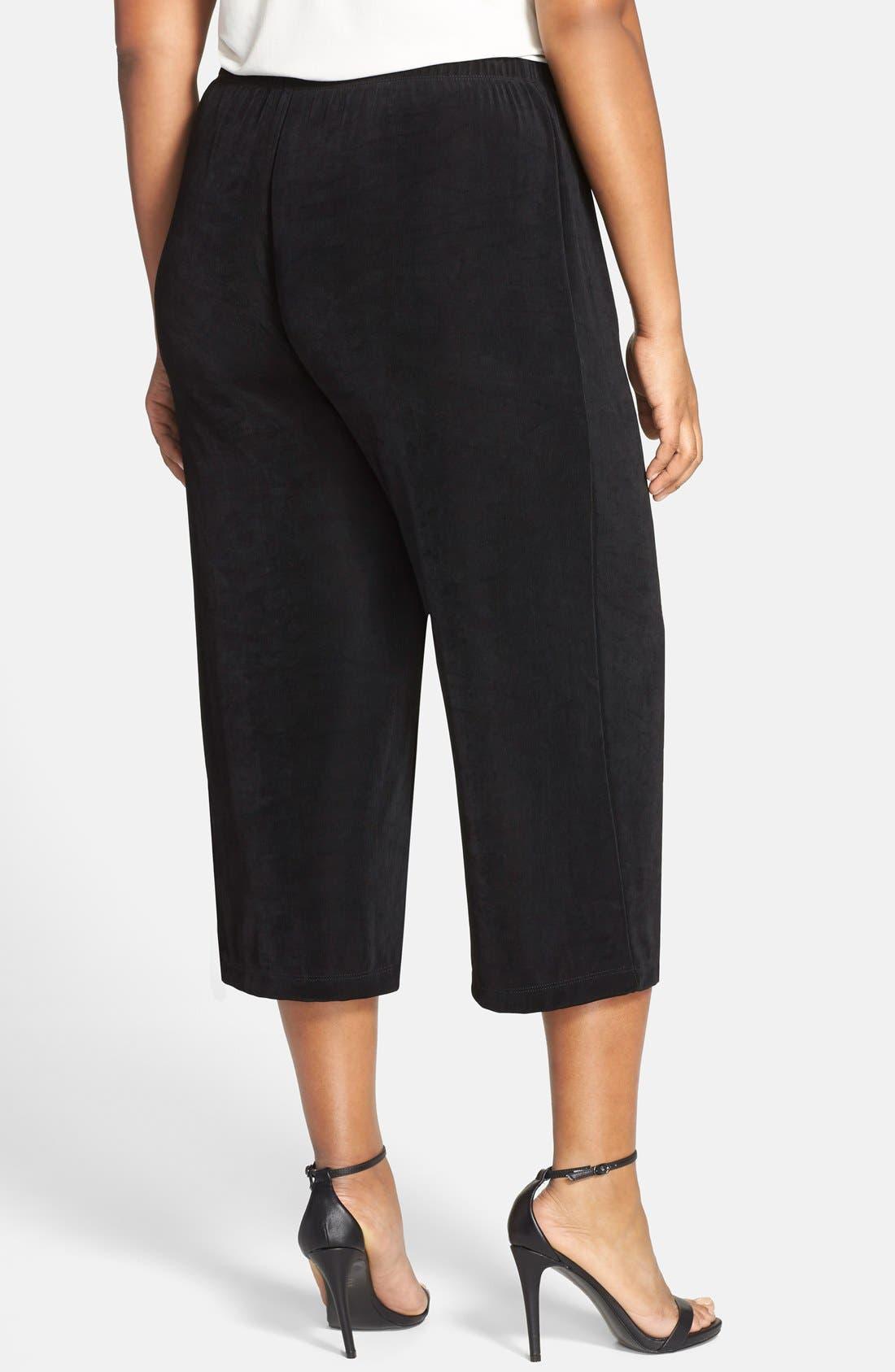 VIKKI VI, High Rise Stretch Knit Crop Pants, Alternate thumbnail 2, color, BLACK