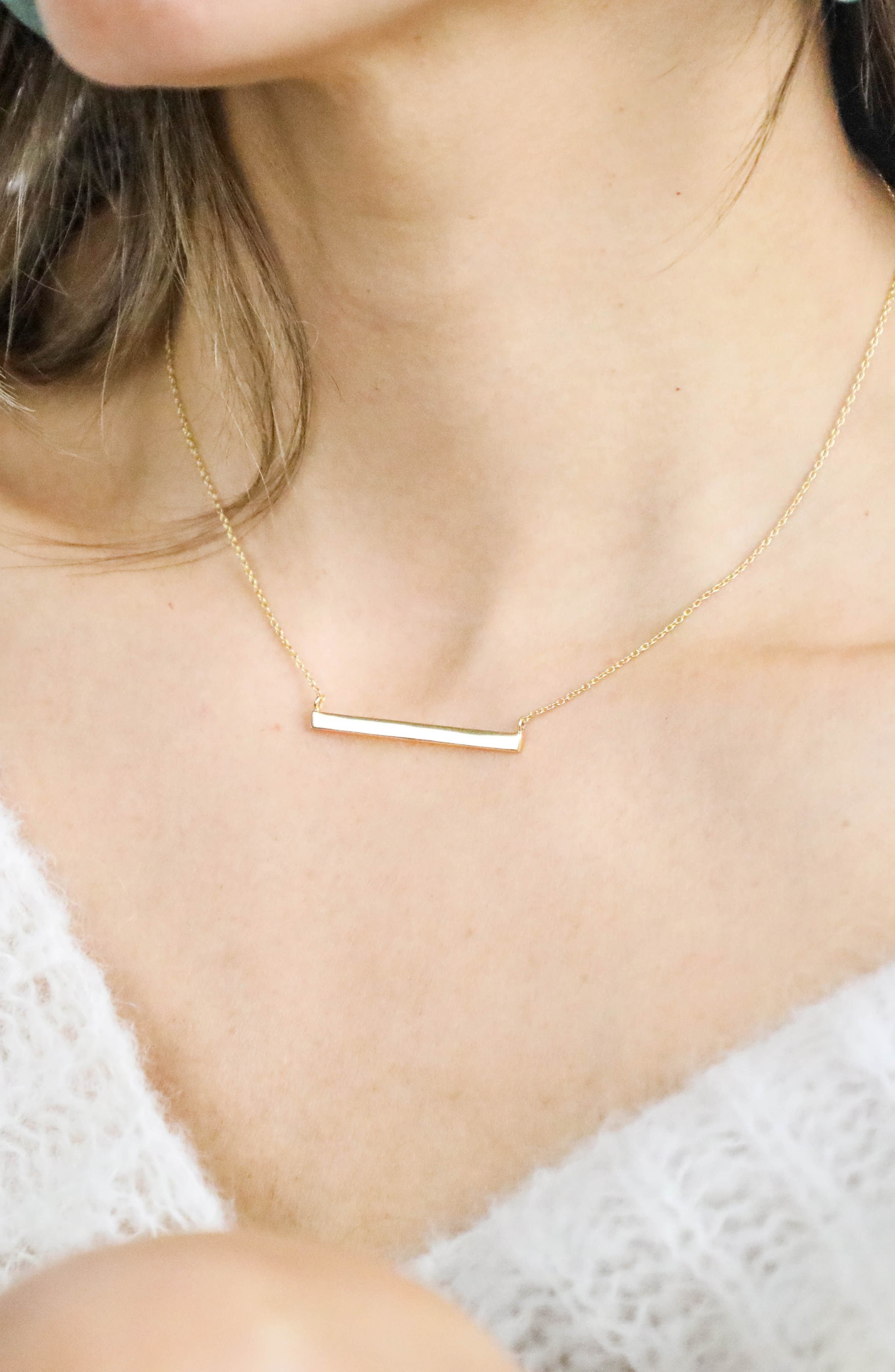 ARGENTO VIVO, Bar Pendant Necklace, Alternate thumbnail 8, color, GOLD