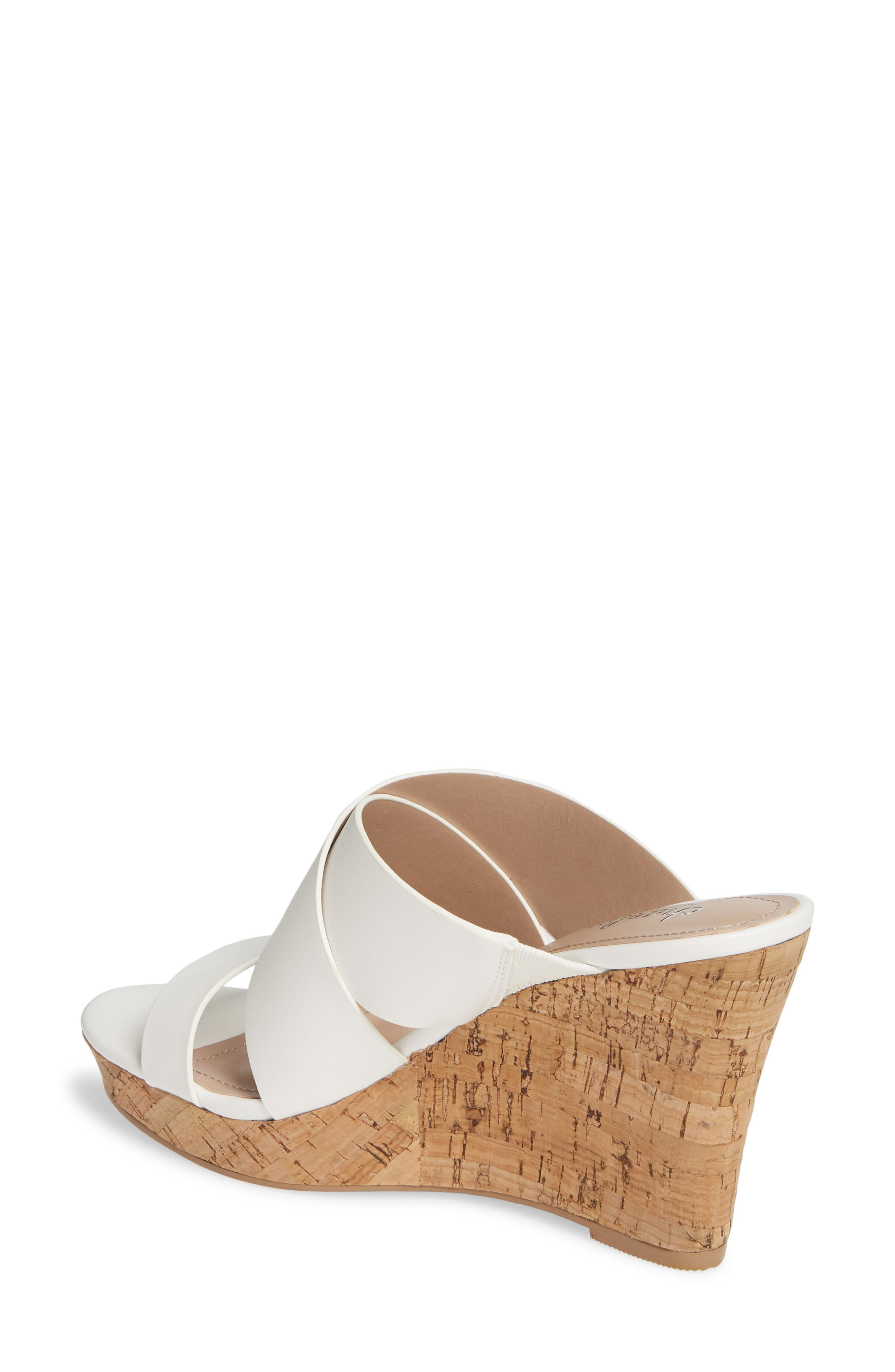 CHARLES BY CHARLES DAVID, Leslie Wedge Sandal, Alternate thumbnail 2, color, WHITE FAUX LEATHER