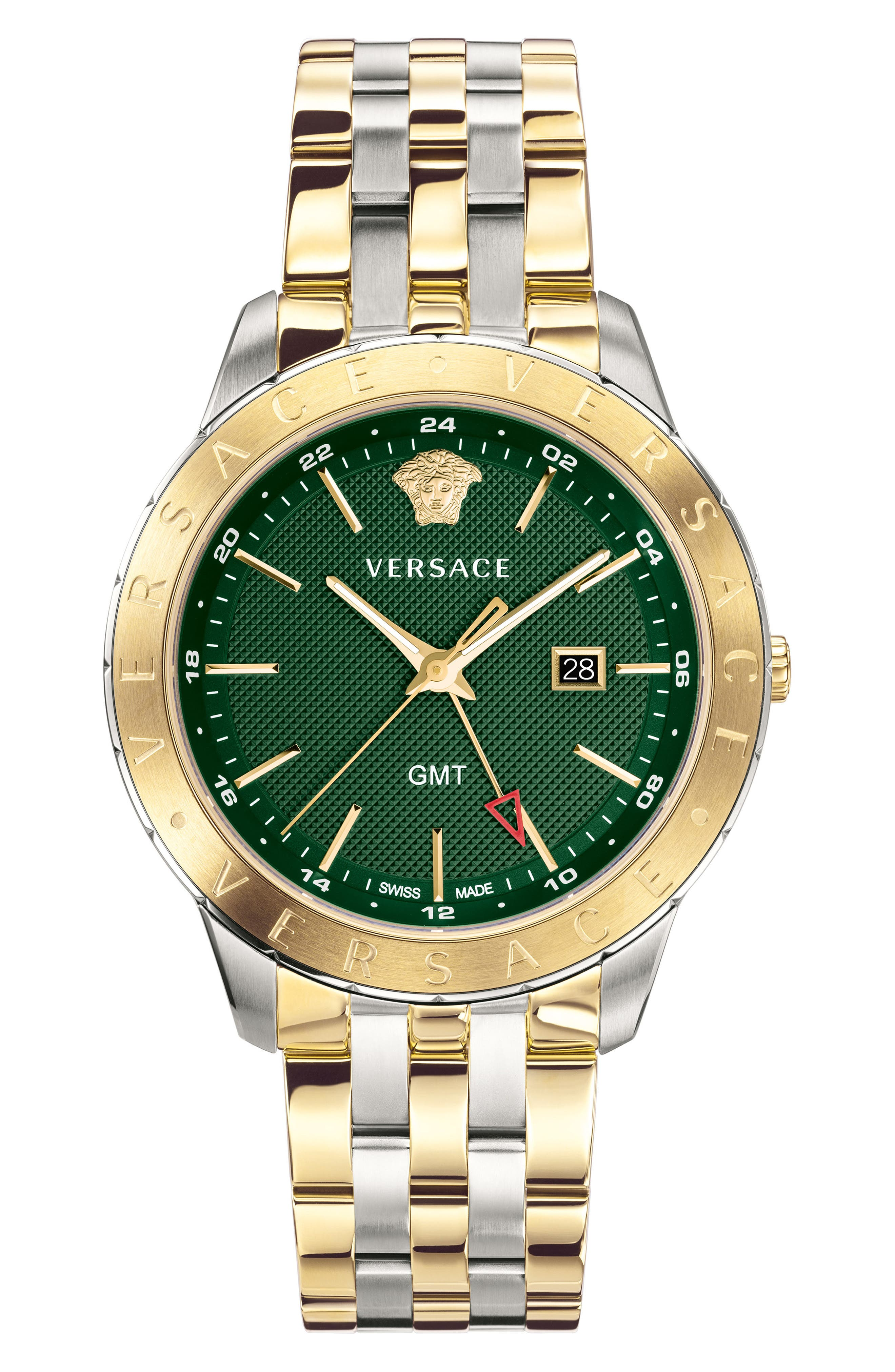 VERSACE, Univers Bracelet Watch, 43mm, Main thumbnail 1, color, SILVER/ GREEN/ GOLD