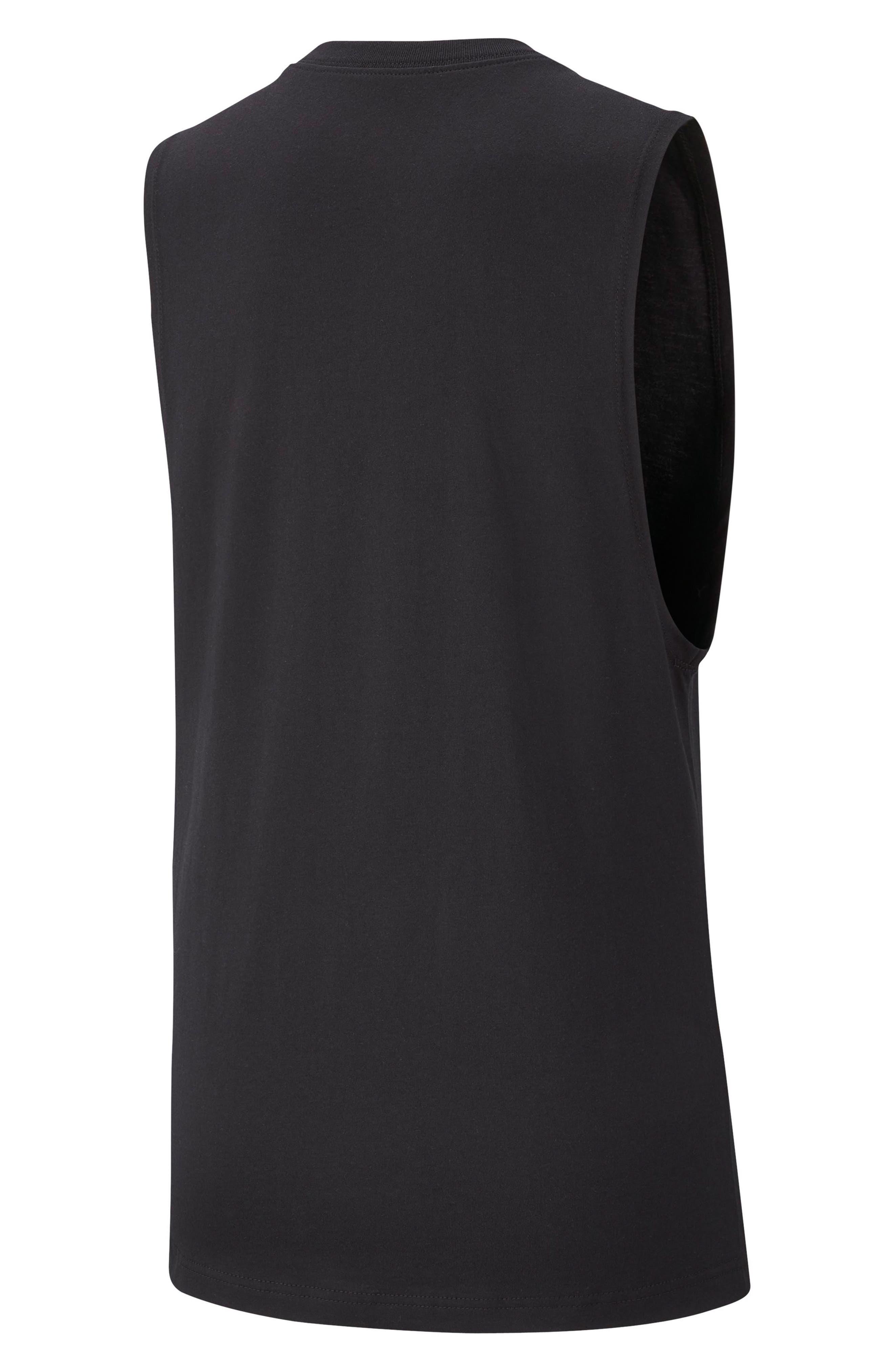 NIKE, Sportswear Essential Futura Muscle Tank, Alternate thumbnail 8, color, BLACK/ WHITE