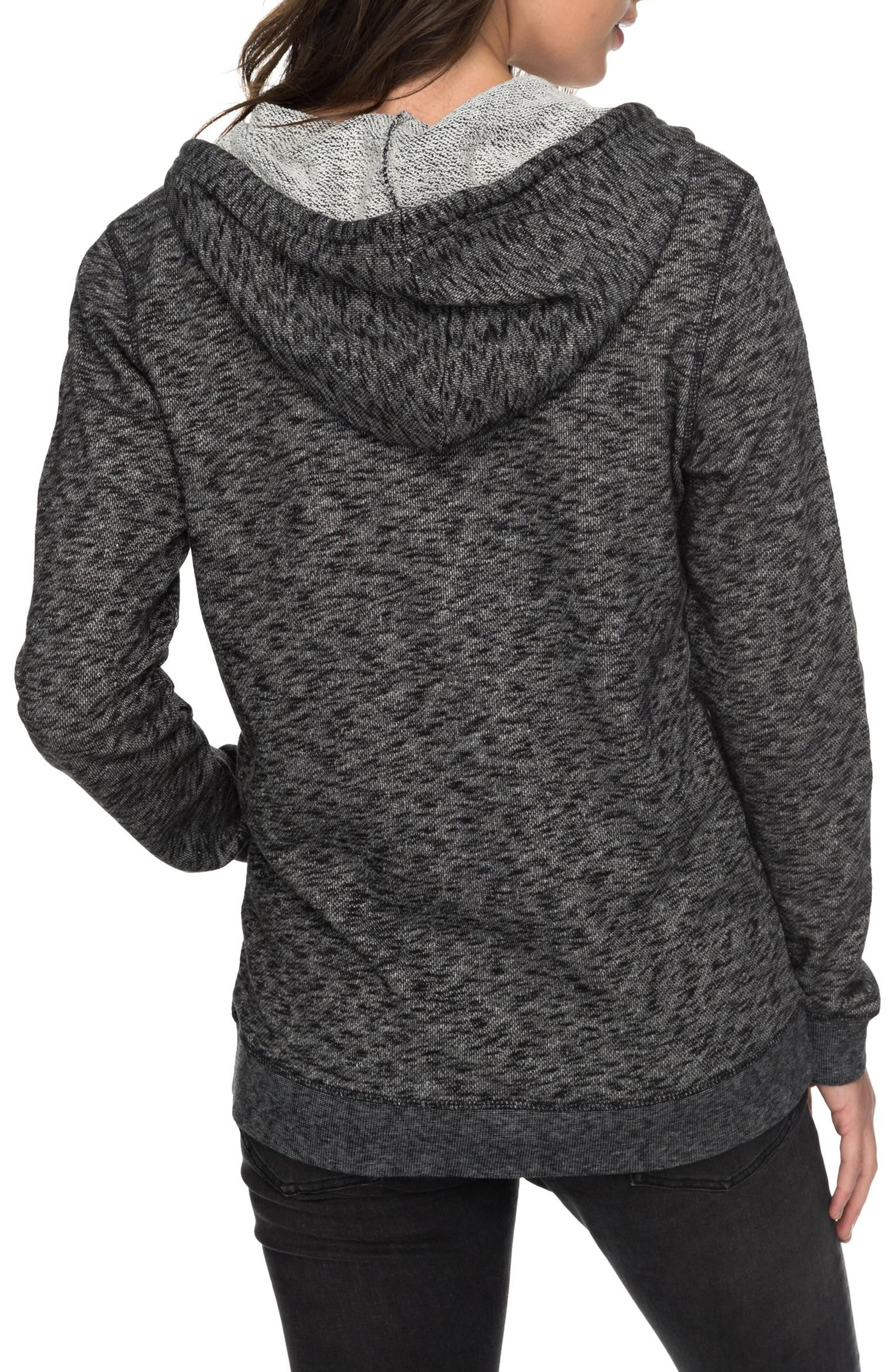 ROXY, Trippin Hoodie, Alternate thumbnail 2, color, ANTHRACITE HEATHER