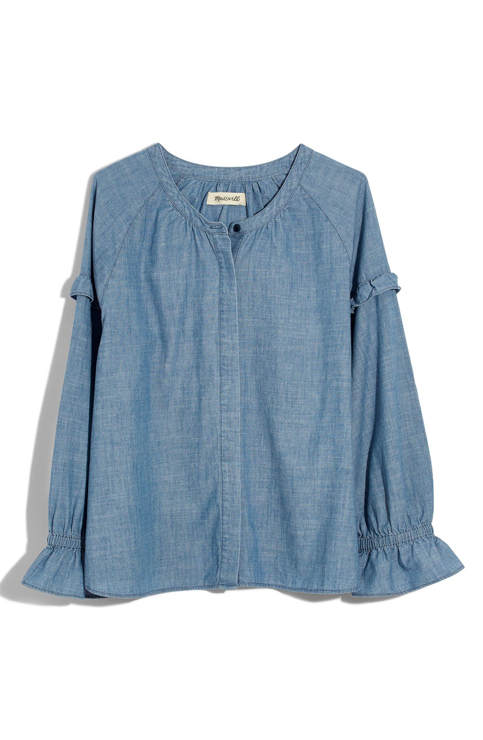 333aeb504c Madewell Collarless Ruffle Sleeve Denim Shirt (Regular   Plus Size ...