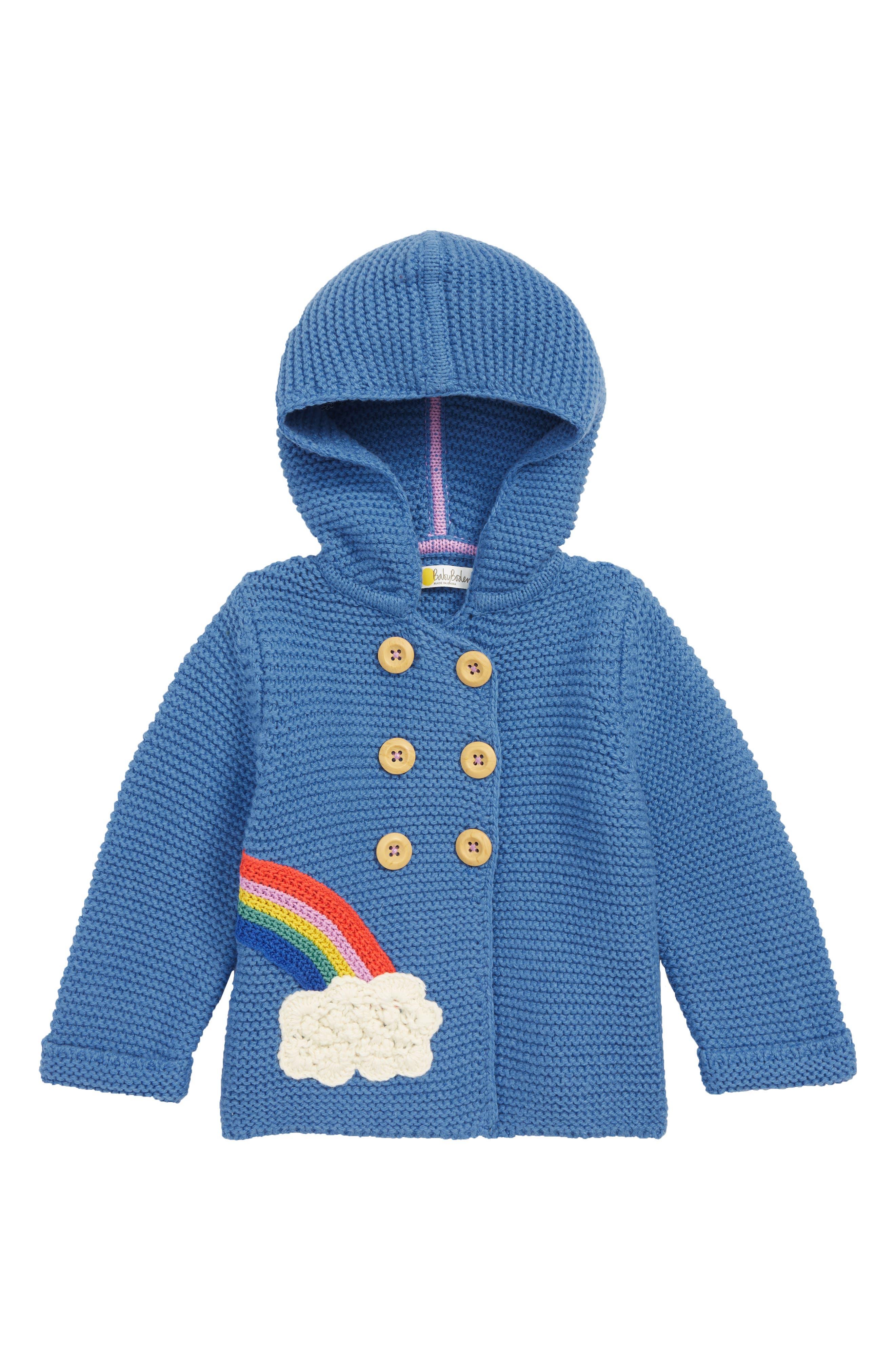 Infant Girls Mini Boden Knit Rainbow Jacket Size 36M  Blue