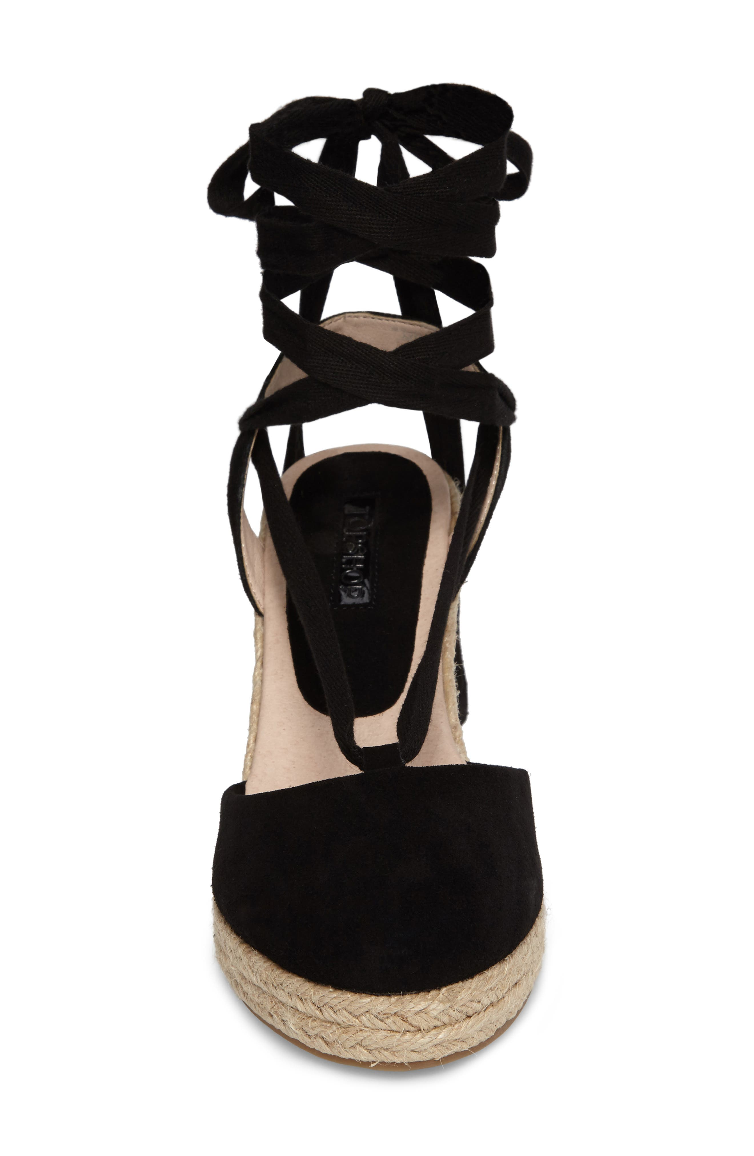 TOPSHOP, Waves Espadrille Wedge, Alternate thumbnail 4, color, 001