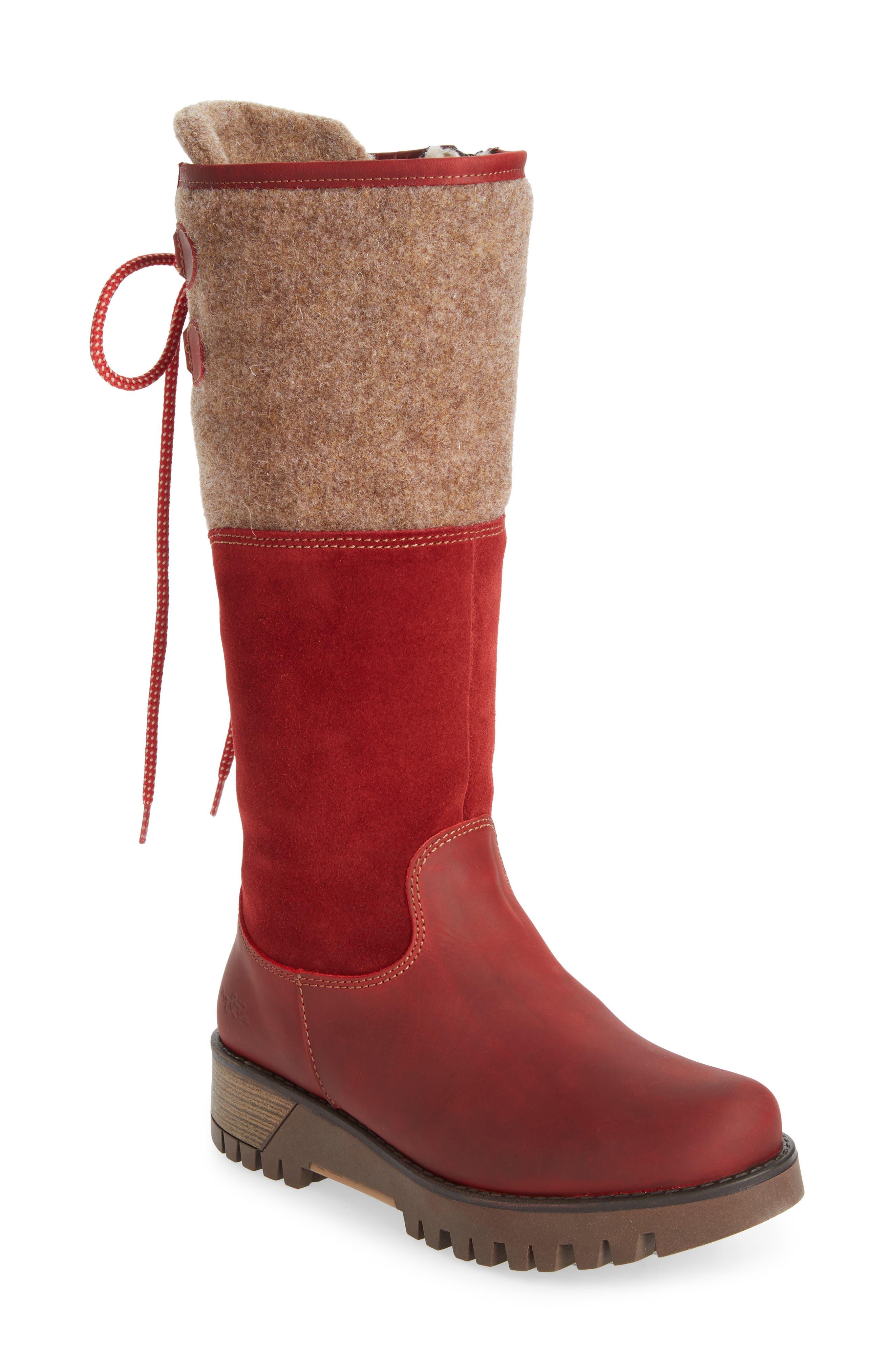 BOS. & CO., 'Ginger' Waterproof Mid Calf Platform Boot, Main thumbnail 1, color, RED/ SCARLET WOOL