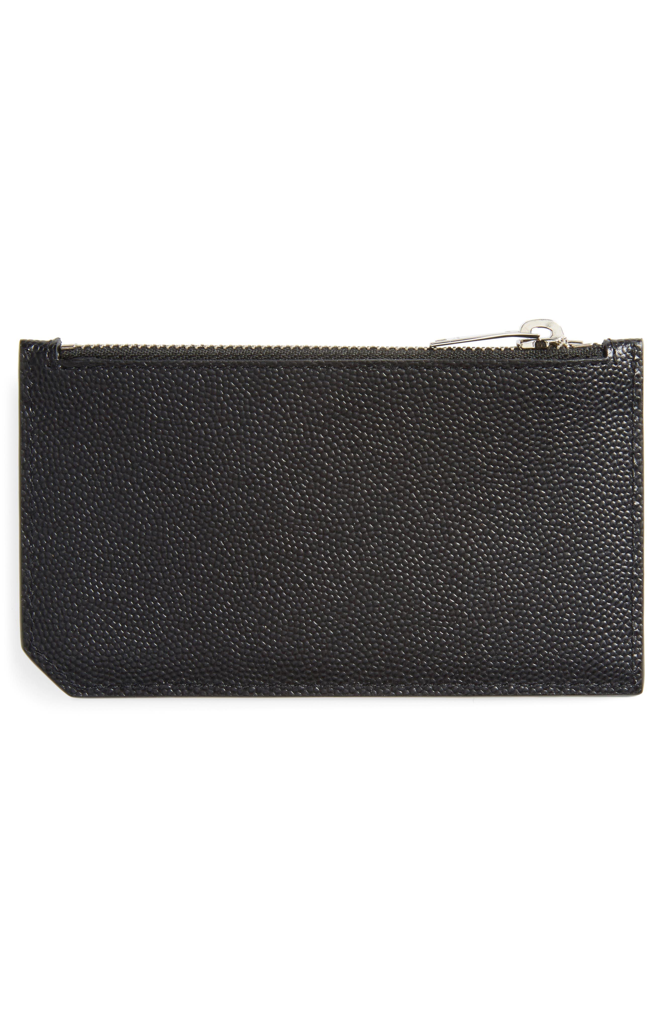 SAINT LAURENT, Pebble Grain Leather Zip Wallet, Alternate thumbnail 2, color, NERO