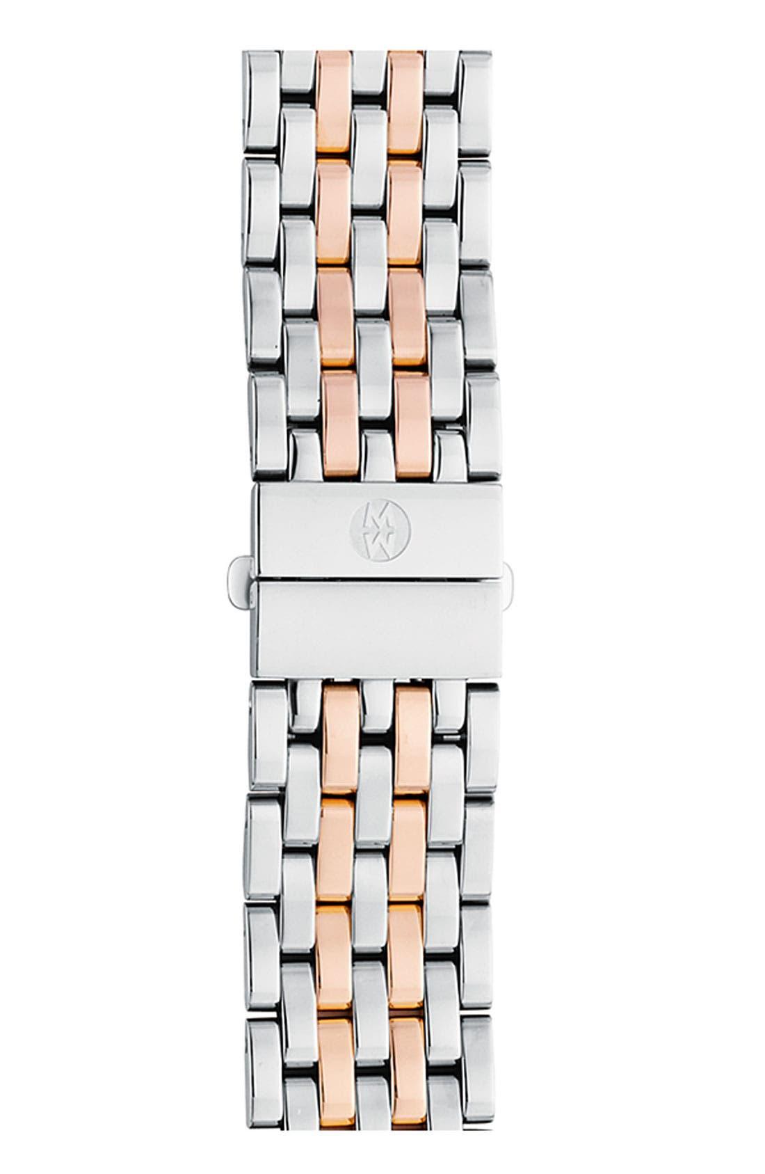 MICHELE, Deco 18mm Bracelet Watchband, Main thumbnail 1, color, SILVER/ ROSE GOLD