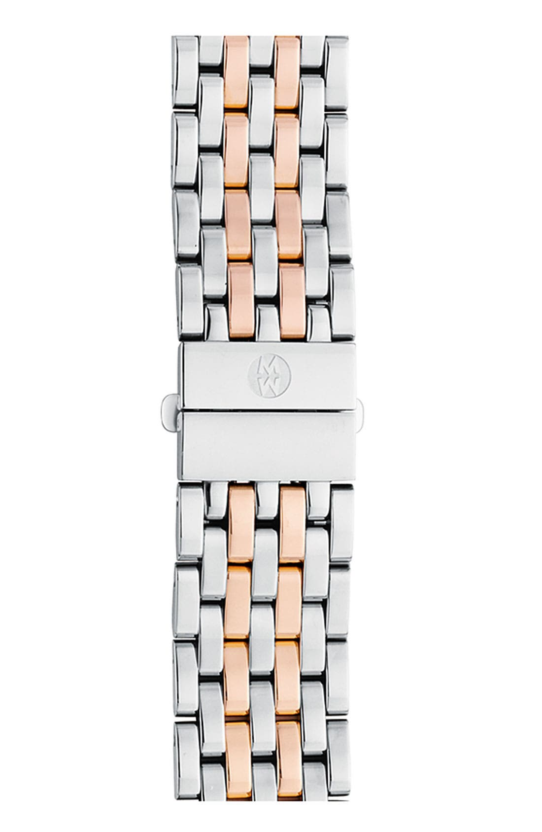 MICHELE Deco 18mm Bracelet Watchband, Main, color, SILVER/ ROSE GOLD