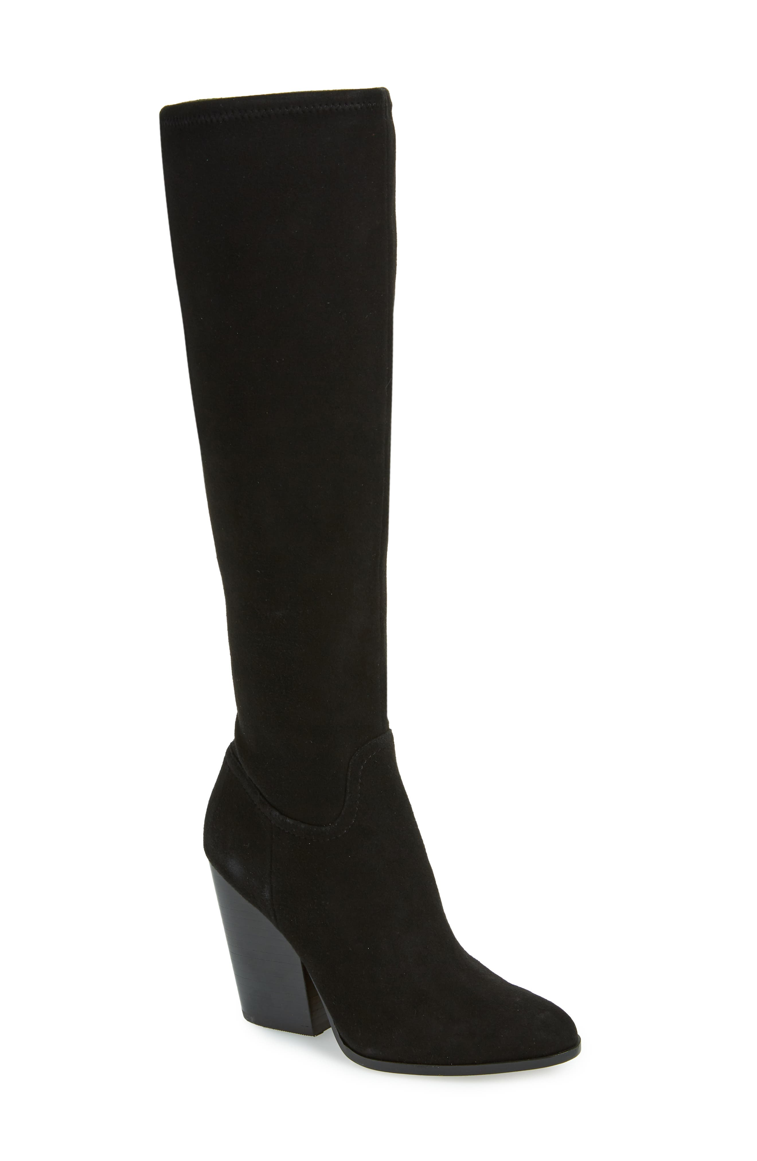 LINEA PAOLO, Elena Knee High Boot, Main thumbnail 1, color, BLACK STRETCH SUEDE