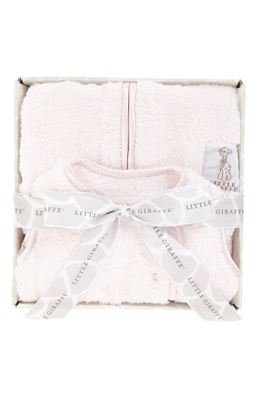 LITTLE GIRAFFE, Dream Sack<sup>™</sup> Chenille Wearable Blanket, Alternate thumbnail 3, color, PINK