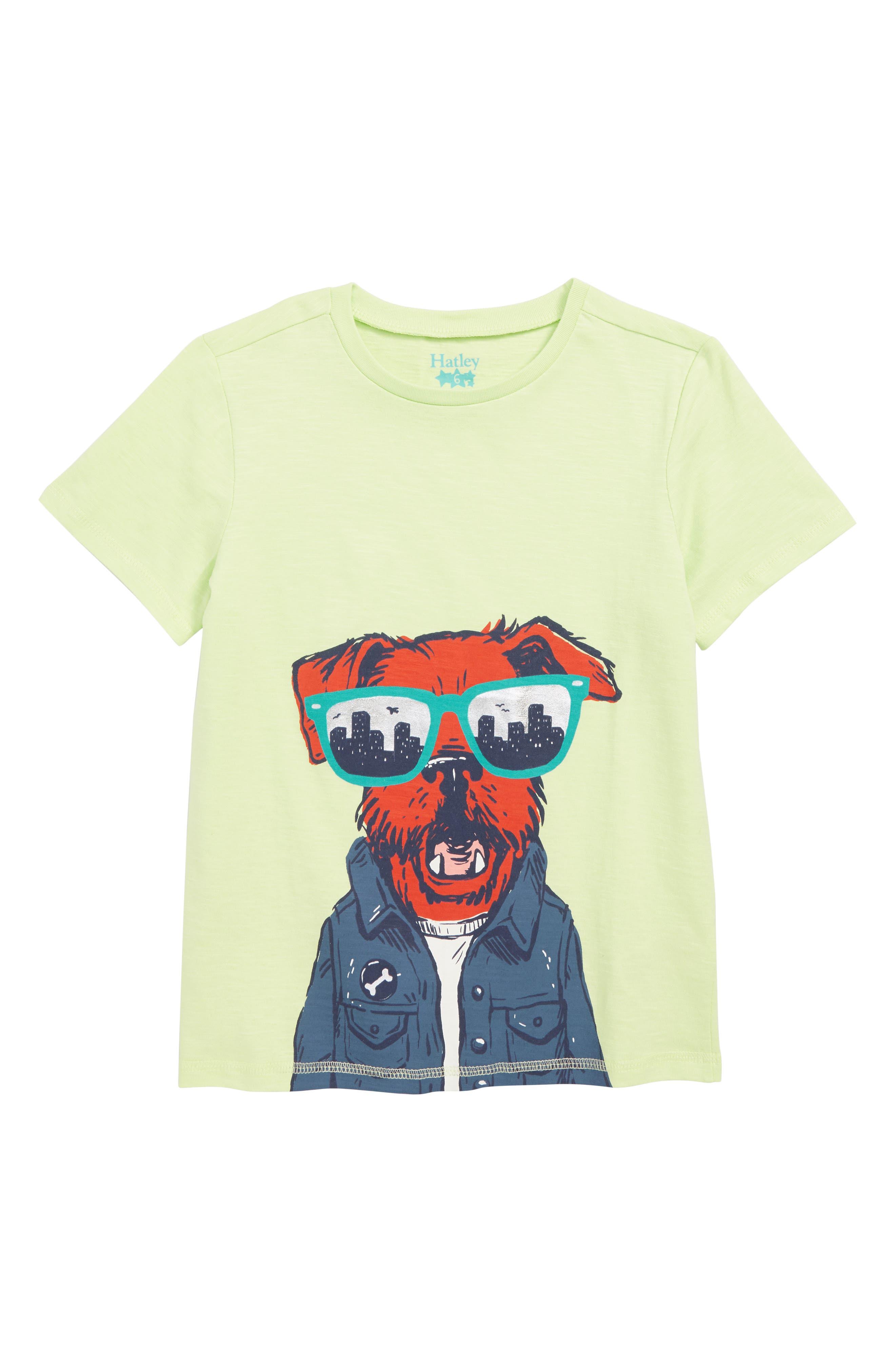 HATLEY, Hip City Pup Graphic T-Shirt, Main thumbnail 1, color, GREEN