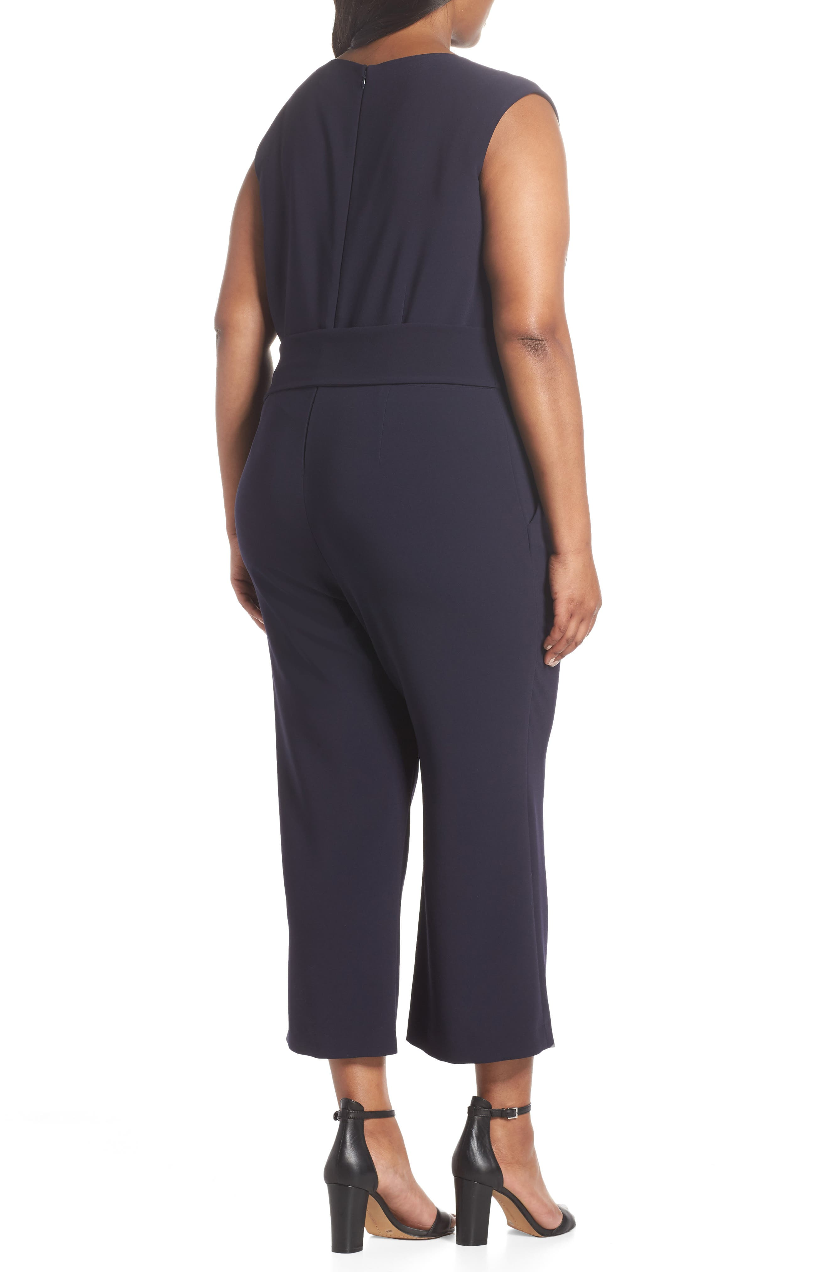 TAHARI, Tie Waist Crop Crepe Jumpsuit, Alternate thumbnail 2, color, NAVY
