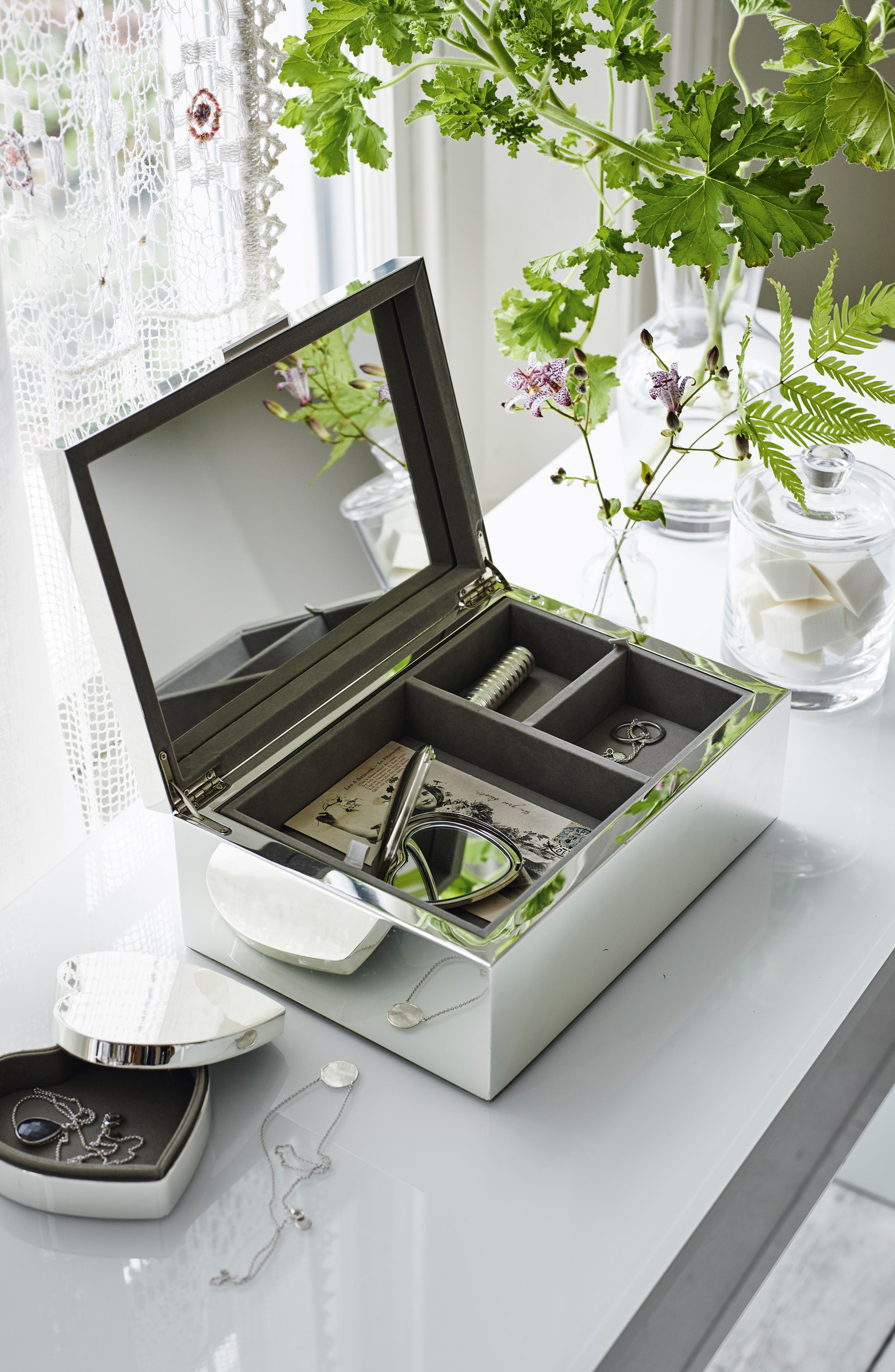 THE WHITE COMPANY, Large Silver Plated Jewelry Box, Alternate thumbnail 3, color, SILVER