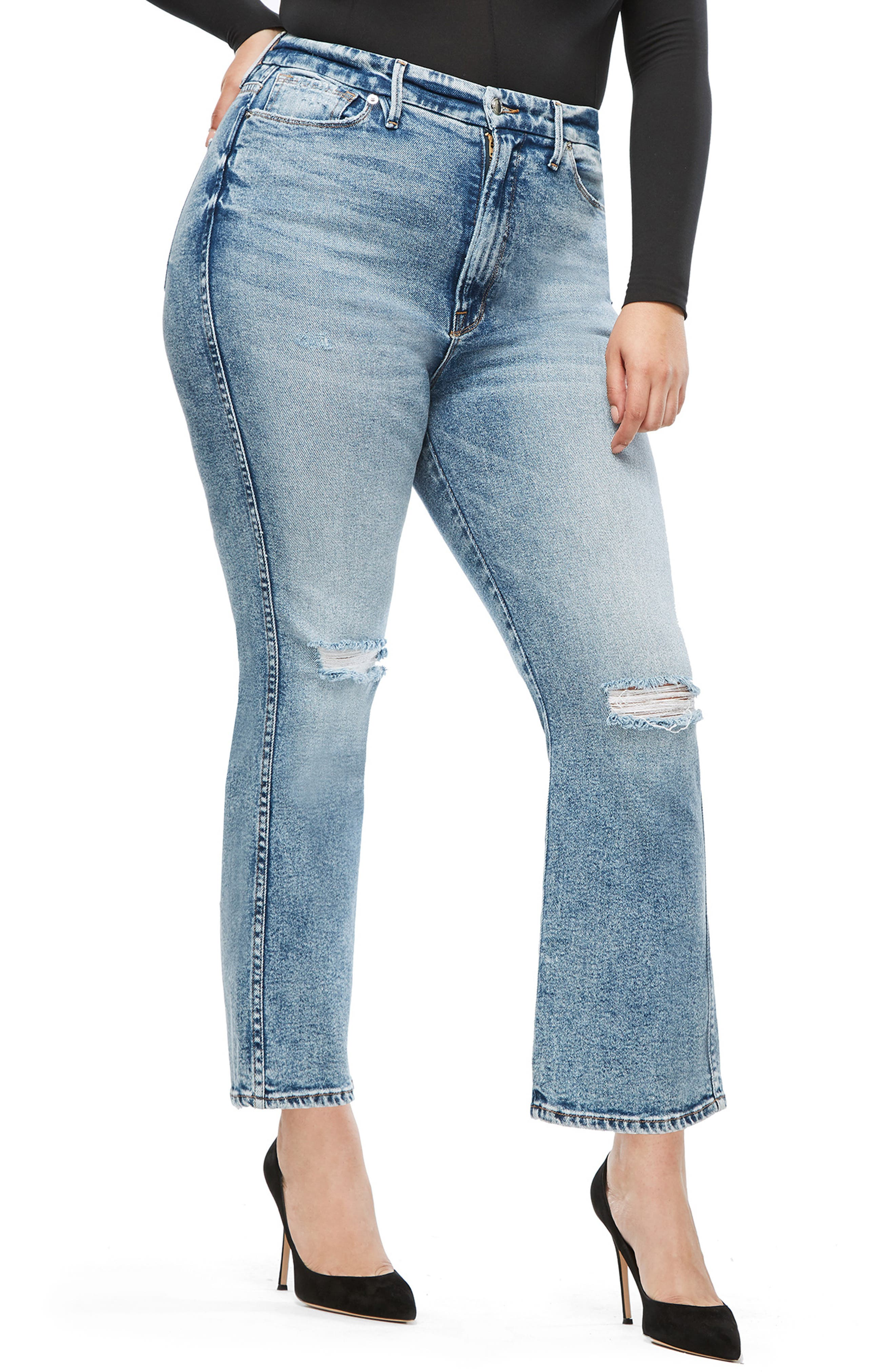 GOOD AMERICAN, Good Curve High Waist Ankle Straight Leg Jeans, Alternate thumbnail 8, color, 401