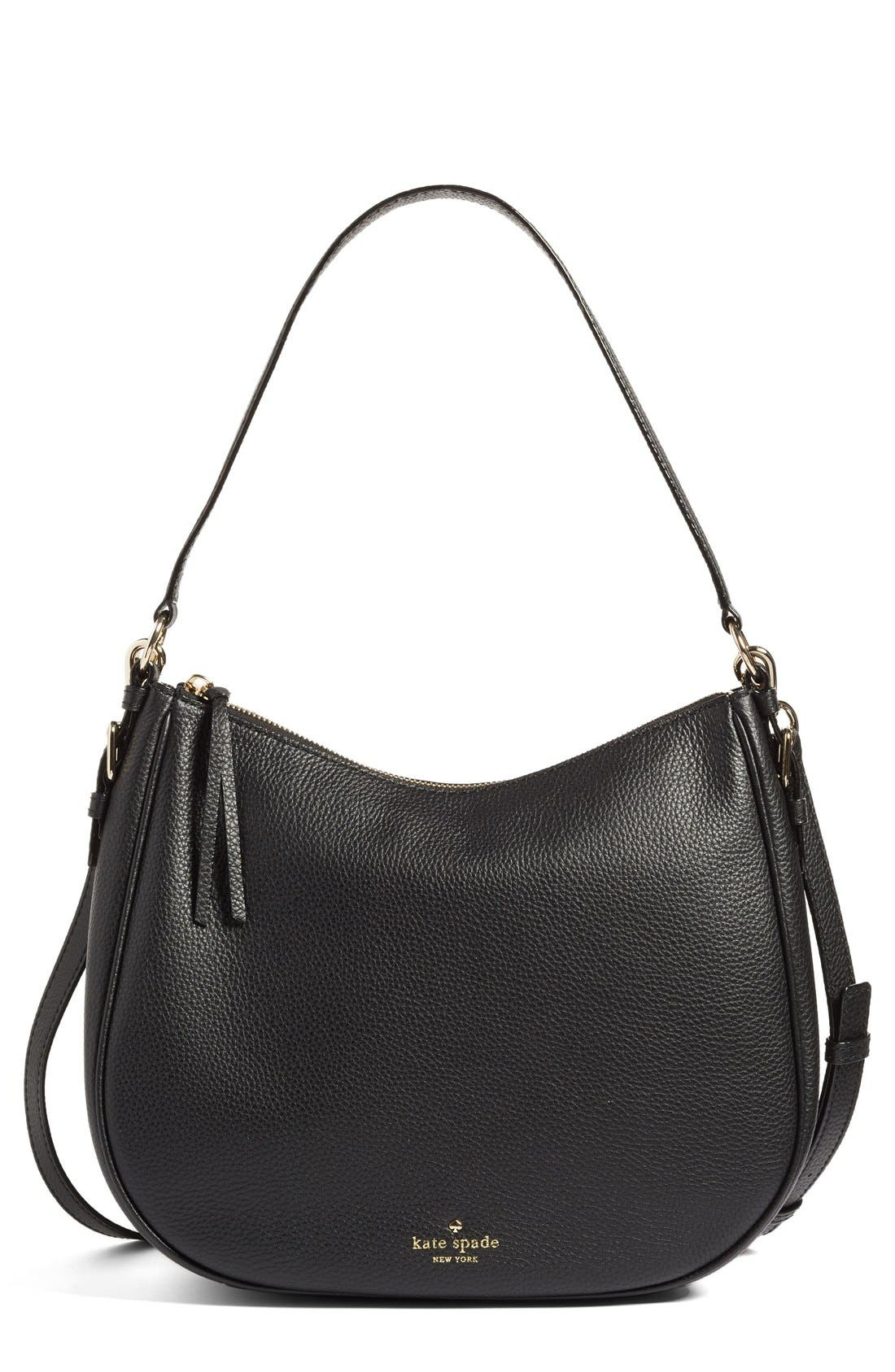 KATE SPADE NEW YORK, cobble hill mylie leather hobo, Main thumbnail 1, color, 001