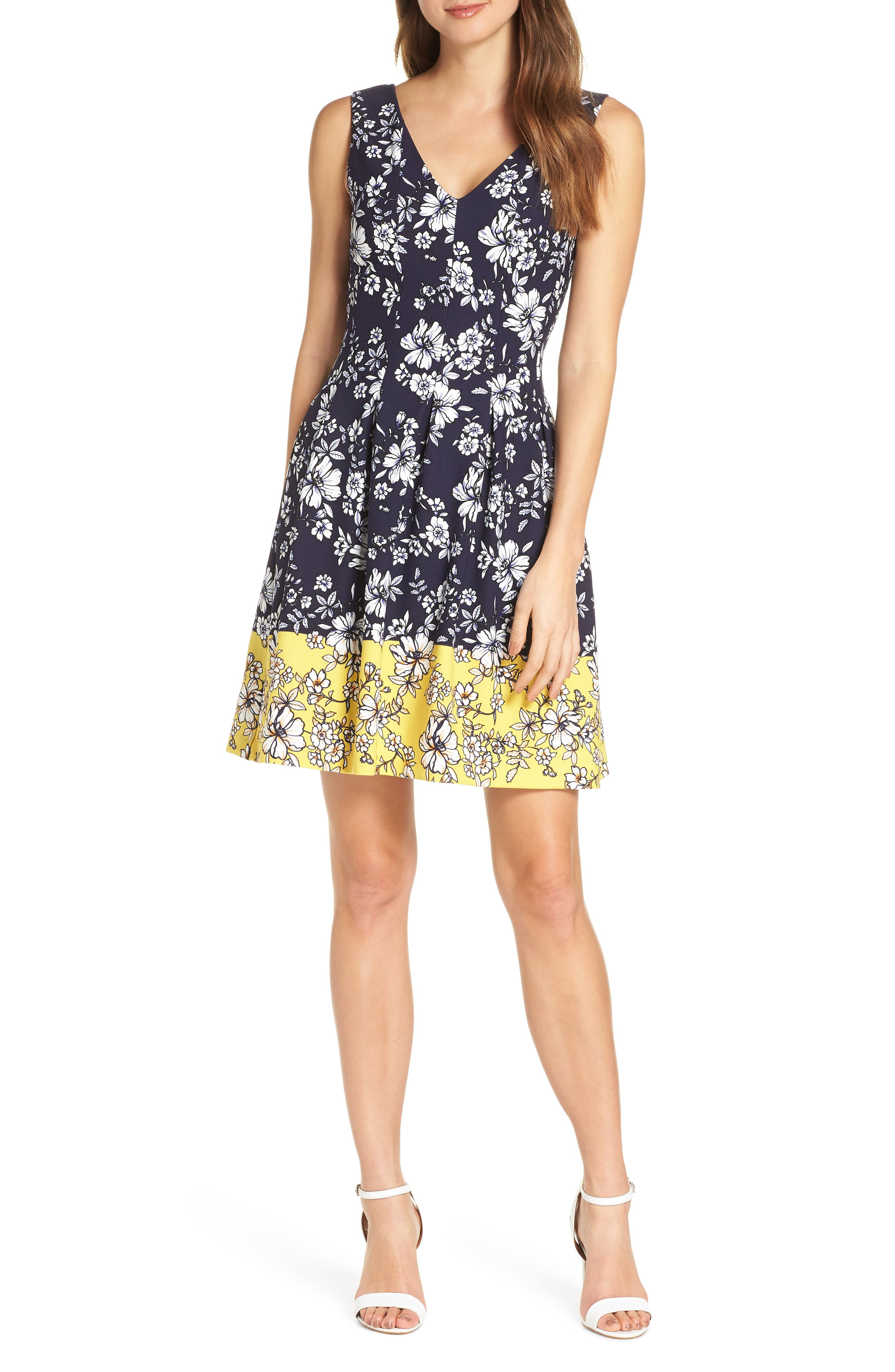 VINCE CAMUTO, Floral Print Pleated Fit & Flare Dress, Main thumbnail 1, color, NAVY/ YELLOW
