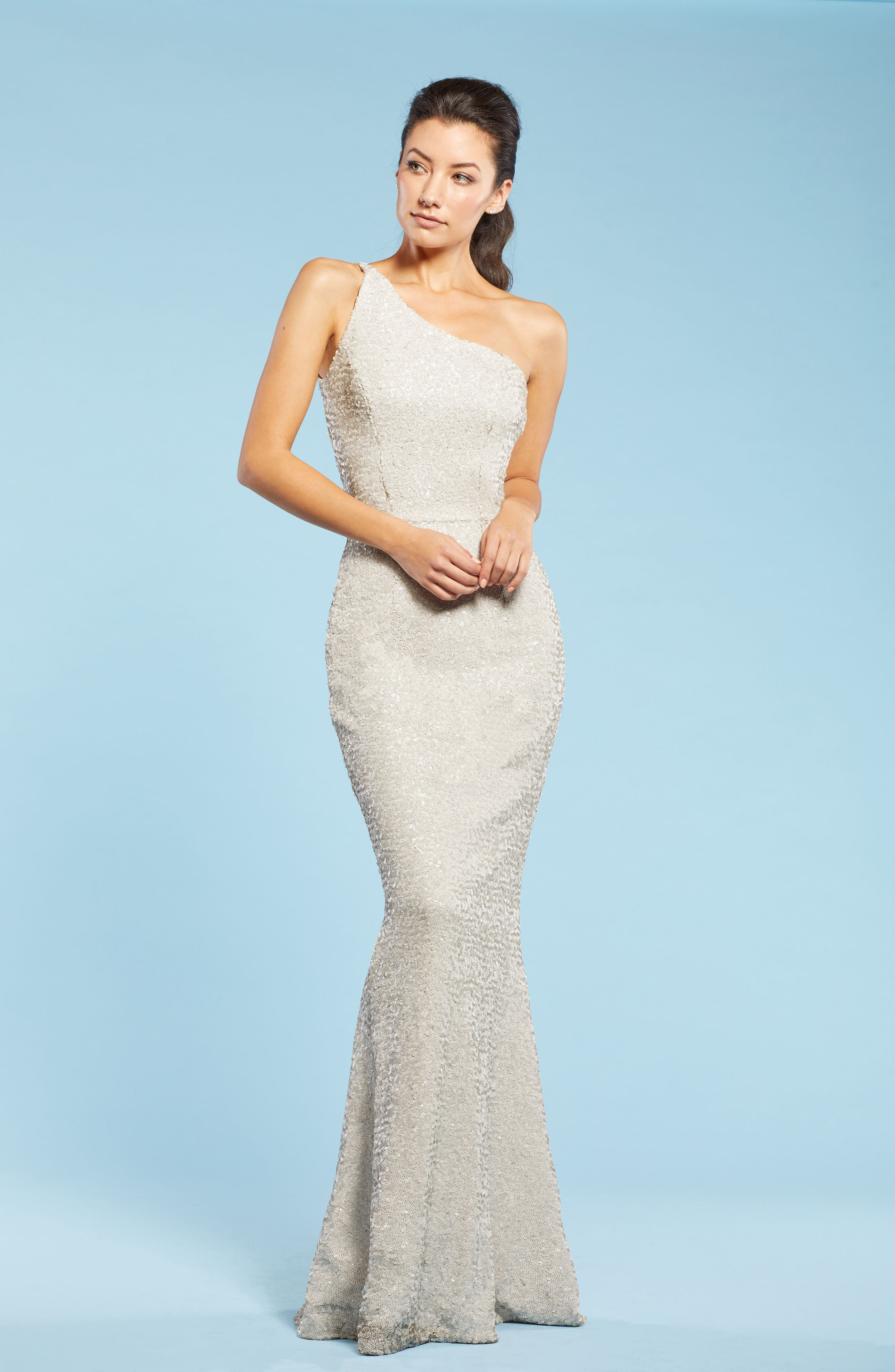 DRESS THE POPULATION, Bella One-Shoulder Mermaid Gown, Alternate thumbnail 6, color, 020