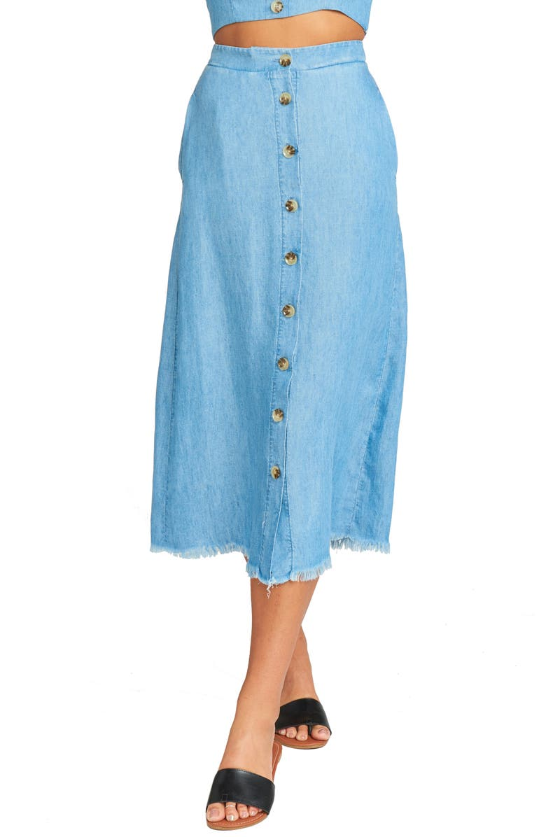 Show Me Your Mumu Skirts SHARON CHAMBRAY MIDI SKIRT